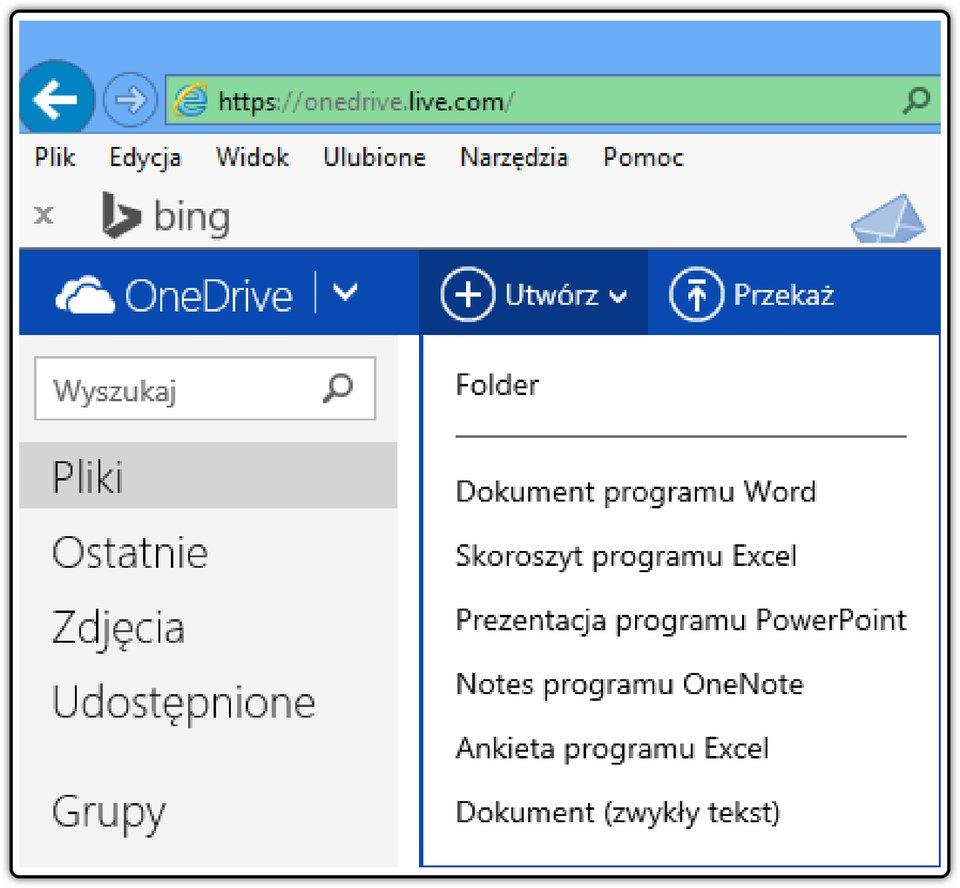 Zrzut fragmentu okna usługi OneDrive zlistą dostępnych aplikacji