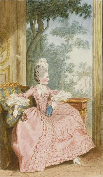 Moda ancien regime'u ok. 1770 r. Źródło: Carmontelle, Moda ancien regime'u ok. 1770 r., 1770, Gwasz, Musée Condé, domena publiczna.