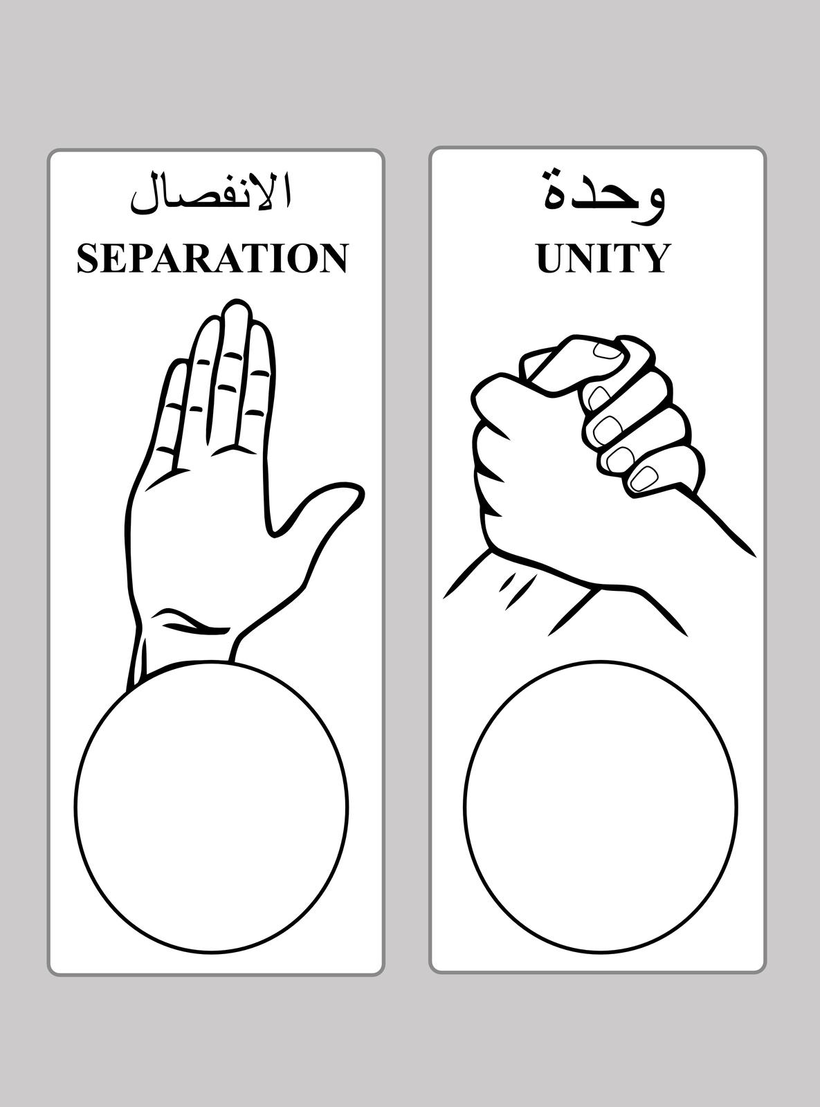 Na ilustracji karta do głosowania wSudanie Południowym. Opisy wjęzyku arabskim iangielskim. Zlewej strony rysunek otwartej dłoni inapis separation. Pod spodem puste kółko do odbicia odcisku palca. Zprawej strony splecione dłonie inapis unity. Pod spodem puste kółko do odbicia odcisku palca.