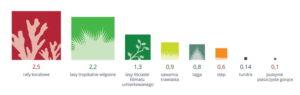 Ilustracja przedstawia osiem kolorowych kwadratów, od największego do najmniejszego. Wielkość kwadratu odnosi się do produktywności danego ekosystemu. Wielkość ta podana jest wkilogramach suchej masy, wytworzonych na powierzchni jednego metra kwadratowego wciągu roku. Kwadraty są podpisane nazwami ekosystemów izawierają białą sylwetkę rośliny, symbolizującej dany ekosystem.