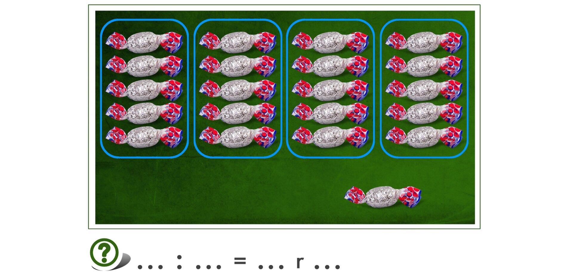 Na rysunku 21 cukierków. Podzielono je na 4 grupy po 5 cukierków. Został 1 cukierek.