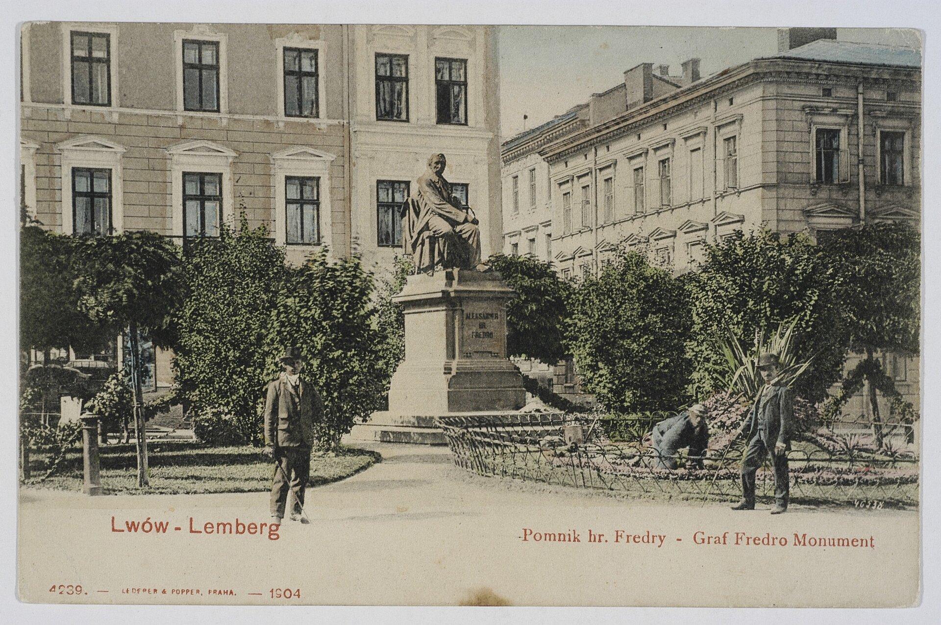 Leonard Marconi, Pomnik Aleksandra Fredry Leonard Marconi, Pomnik Aleksandra Fredry Źródło: Lwów 1904, pocztówka, domena publiczna.