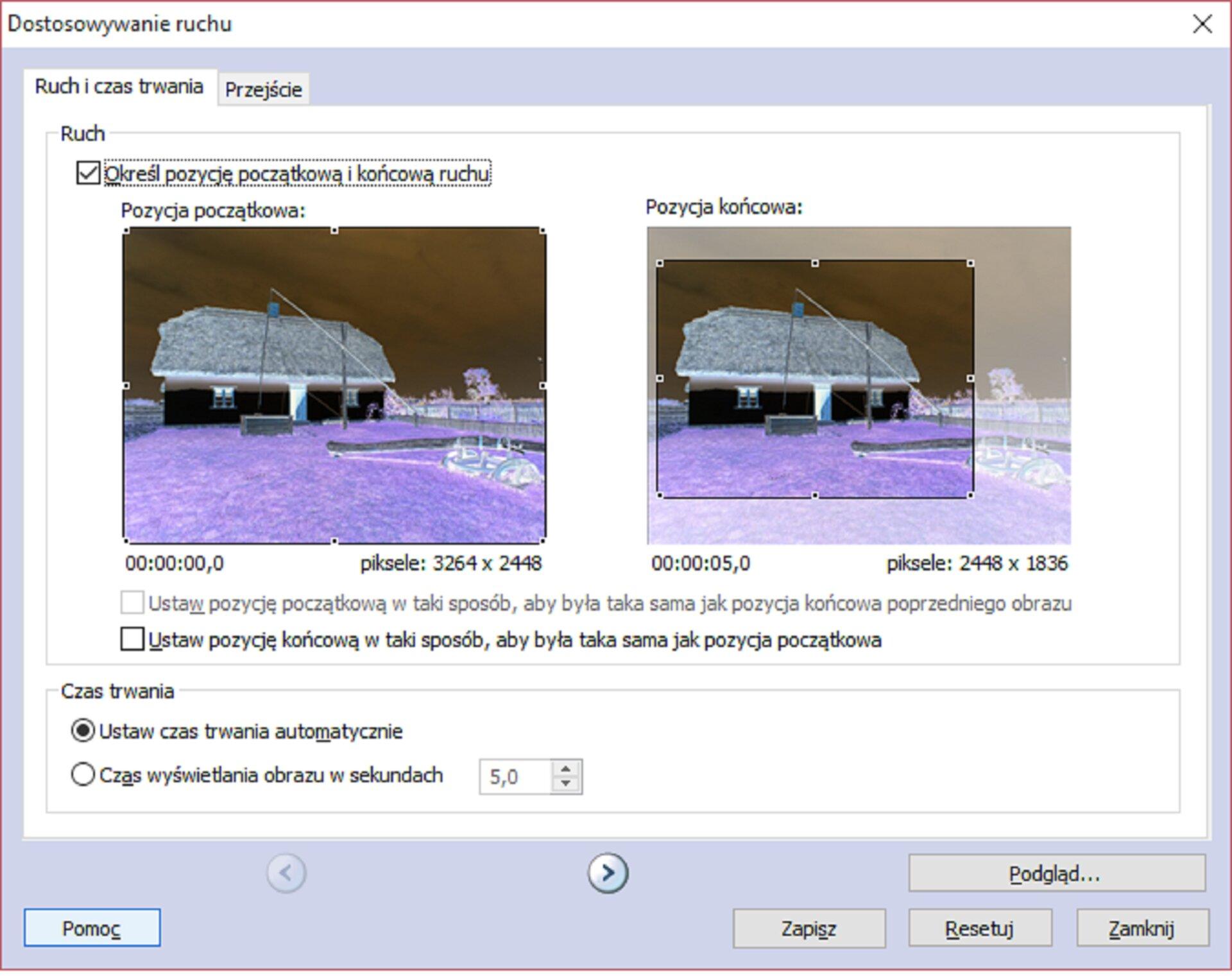 Zrzut okna: Dostosowywanie ruchu wprogramie Photo Story 3 dla Windows