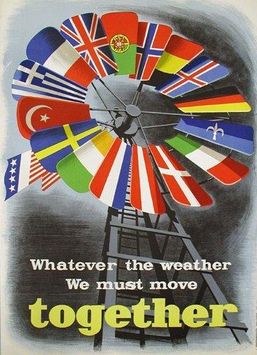 """""""Niezależnie od pogodymusimy pójśćrazem"""" """"Niezależnie od pogodymusimy pójśćrazem"""" Źródło: Economic Cooperation Administration , E. Spreckmeester, domena publiczna."""