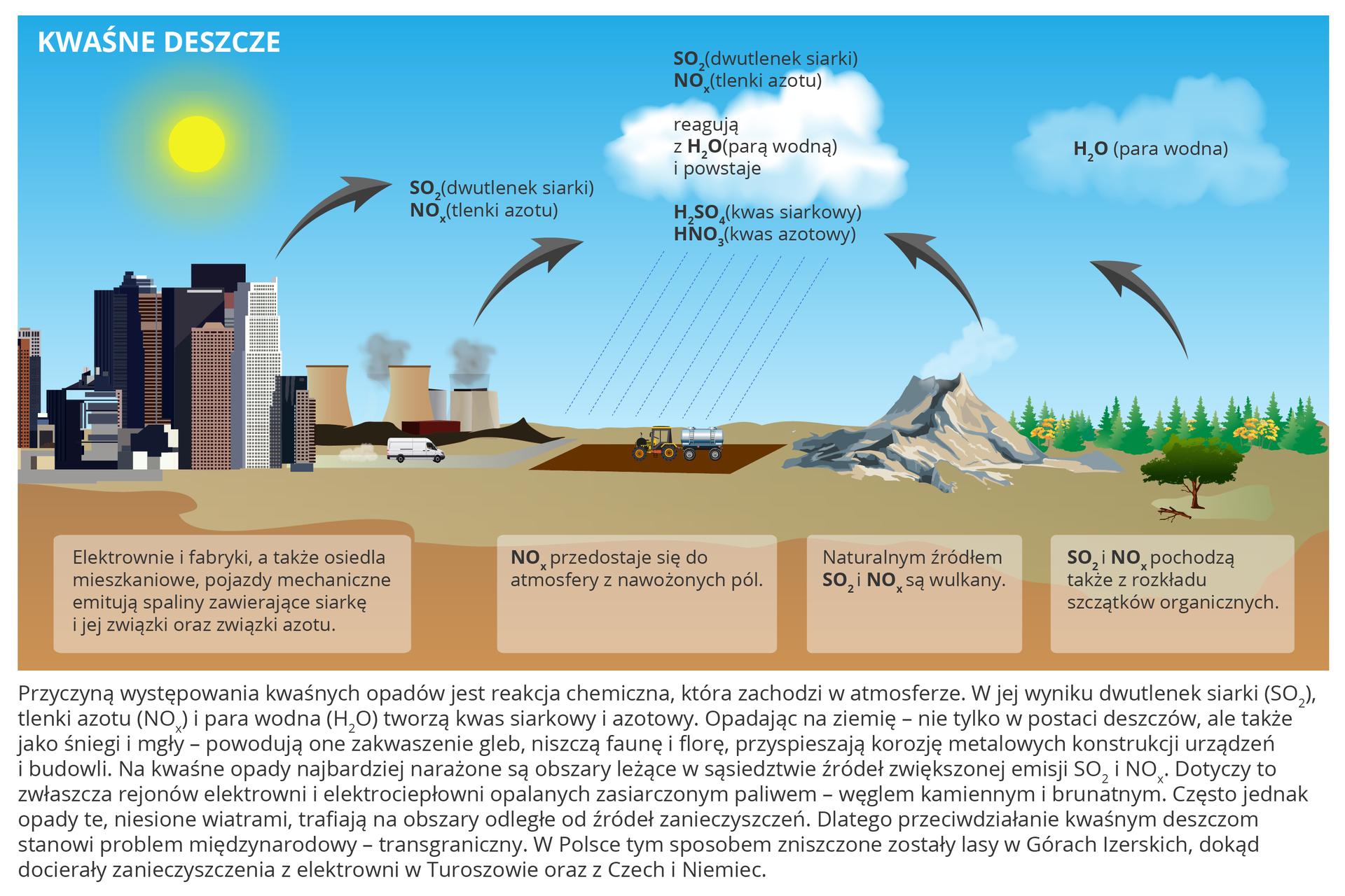 Na ilustracji miasto, obszary rolnicze, góry (wulkany) ilasy. Wkażdym rejonie zaznaczone rodzaje szkodliwych spalin – dwutlenek siarki, tlenki azotu. Wpołączeniu zparą wodną zatmosfery tworzą kwas siarkowy ikwas azotowy, które opadając na ziemię powodują zakwaszenie gleb, niszczenie flory ifauny, korozję metali.