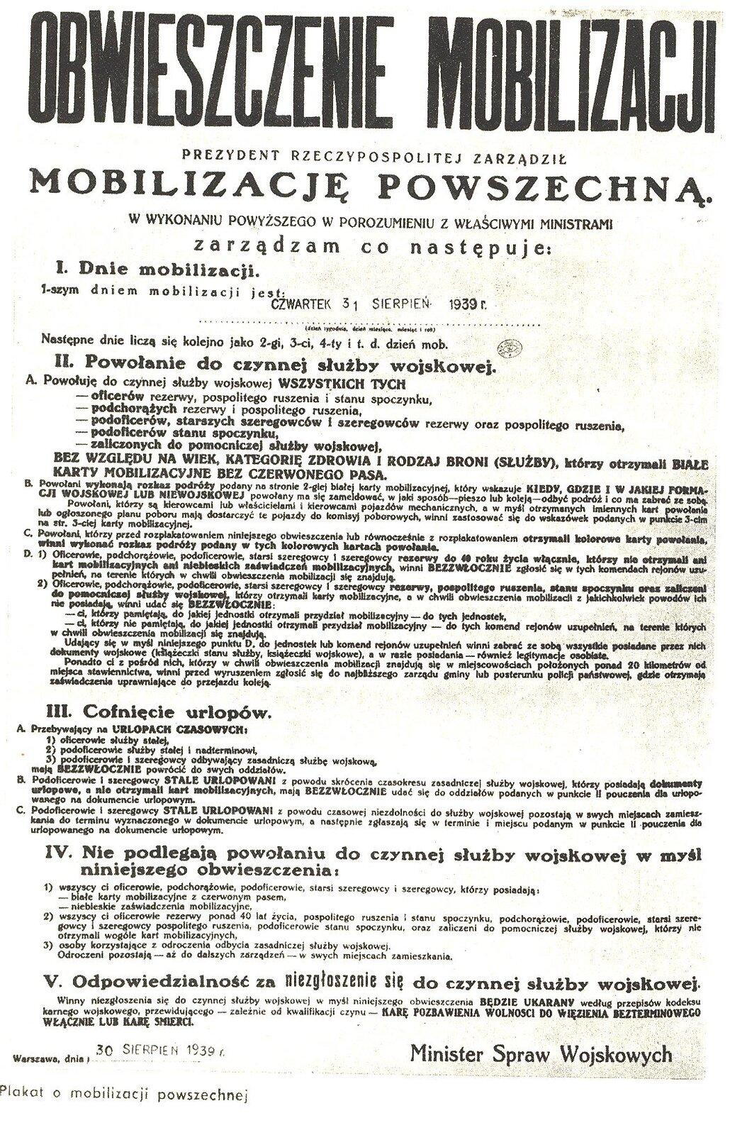 obwieszczenie mobilizacji Źródło: domena publiczna.