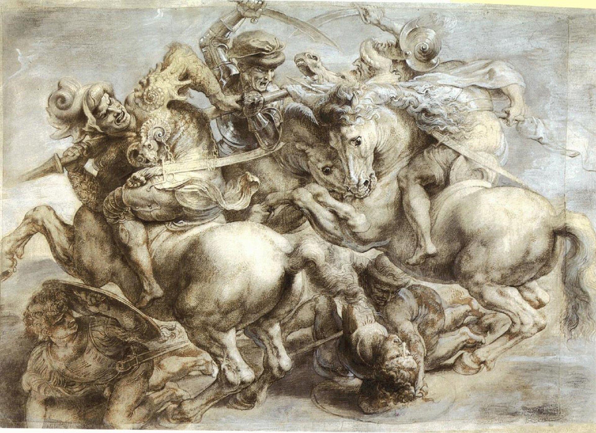 """Ilustracja przedstawia rysunek """"Bitwa pod Anghiari"""" autorstwa Petera Rubensa. Szkic wykonany na podstawie fresku Leonarda da Vinci ukazuje dynamiczną scenę batalistyczną, na której trzej splątani ze sobą jeźdźcy walczą ze sobą. Pod nimi kłębią się postacie pozostałych wojowników. Cała grupa ludzi ikoni zbita jest wjedną, splątaną masę. Bogato zdobione zbroje, powyginane ciała mężczyzn, powykrzywiane twarze, muskulatura ujętych jakby wwyskoku koni, wszystko to potęguje dynamikę sceny. Ołówkowy rysunek został wykonany na sepiowym podkładzie. Artysta przy pomocy białej kredki podkreślił oświetlone partie sceny oraz tła."""