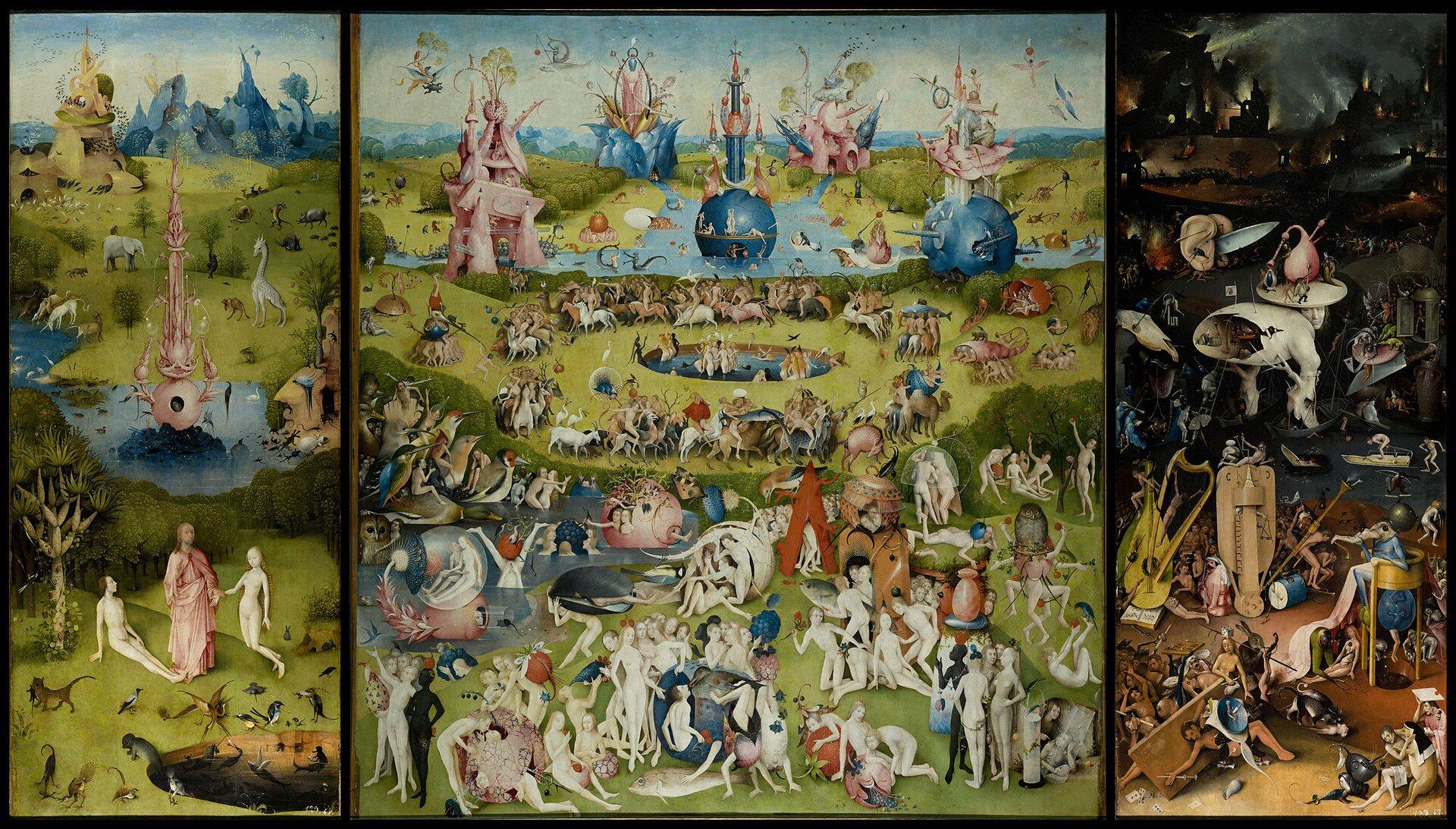 Ogród rozkoszy Obrazprzedstawiający nierzeczywisty świat za pomocą obiektów zaczerpniętych zotoczenia. Jego właścicielem był książę Wilhelm IOrański, ale po wybuchu buntu antyhiszpańskiego, na czele którego stanęła dynastia Orańska, obraz został skonfiskowany iprzewieziony do Hiszpanii. Obecnie znajduje się wMuzeum Prado wMadrycie. Źródło: Hieronim Bosch, Ogród rozkoszy, między 1480 a1505, olej na desce, Prado, domena publiczna.
