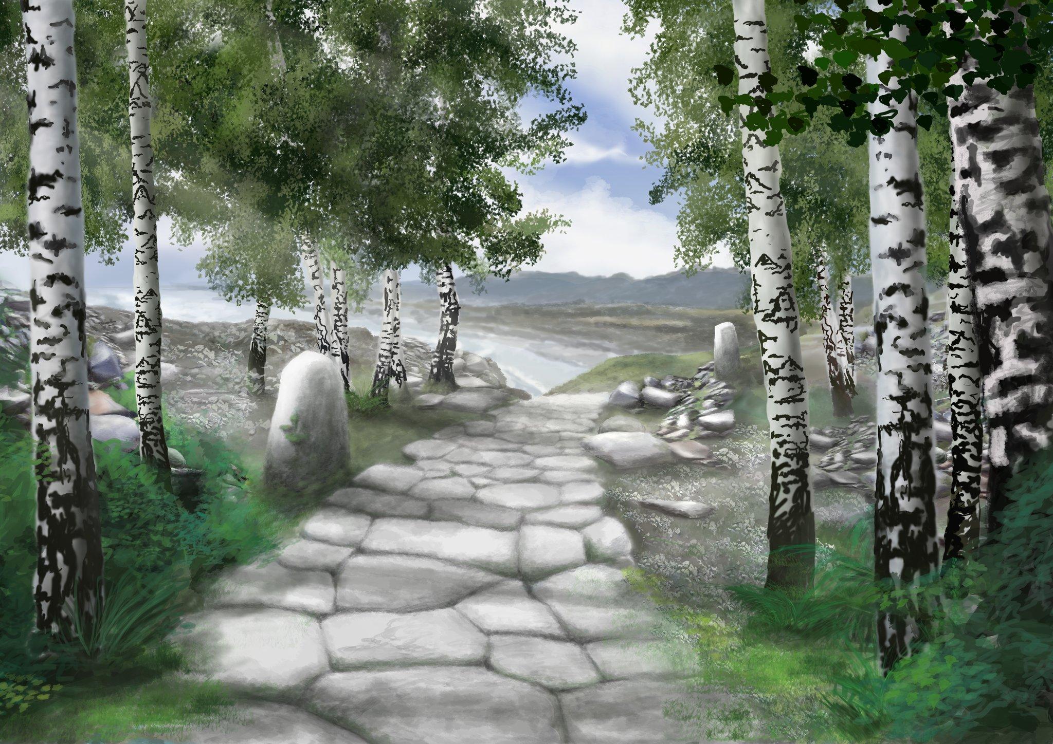 obraz przedstawia kamienną drogę pośród drzew