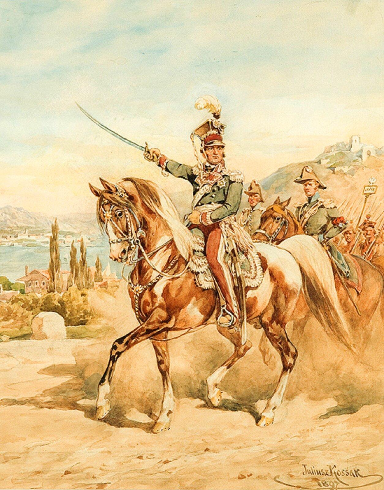 """Ilustracja przedstawia obraz """"Marsz, marsz Dąbrowski!"""", autorstwa Juliusza Kossaka. Na głównym planie widoczny jest Jan Henryk Dąbrowski, polski generał. Postać uwieczniona została podczas jazdy konnej. Generał znajduje się na czele Legionów. Tło obrazu stanowią górskie pejzaże."""