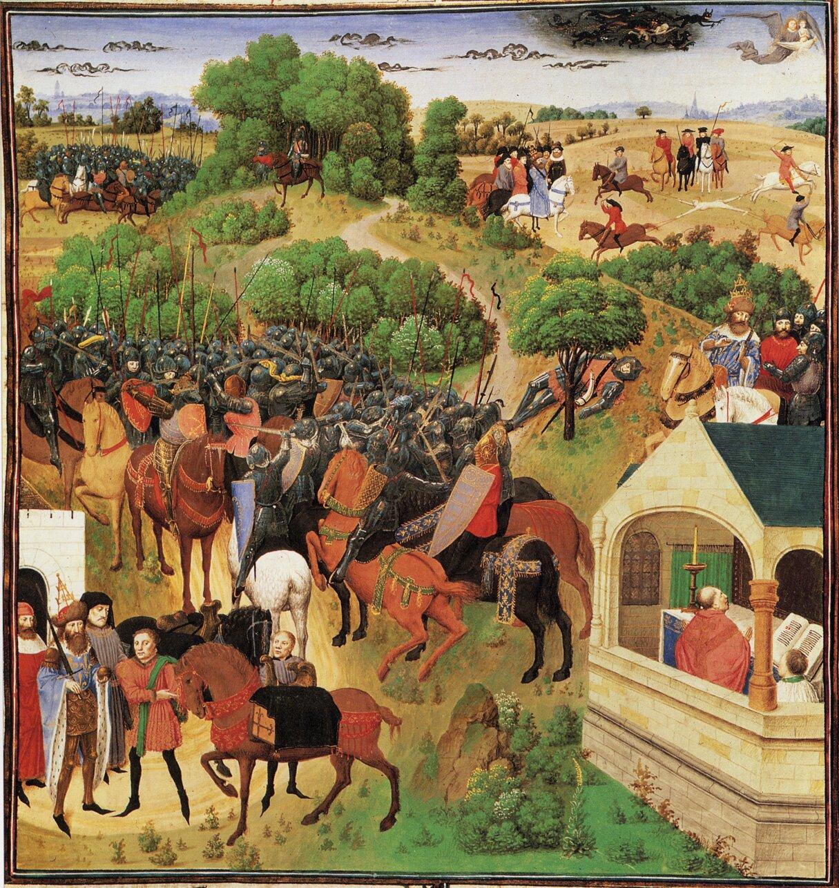 Osiem scen zPieśni oRolandzie, [w:] Wielkie Kroniki Francji Osiem scen zPieśni oRolandzie, [w:] Wielkie Kroniki Francji Źródło: poł. XV wieku, domena publiczna.
