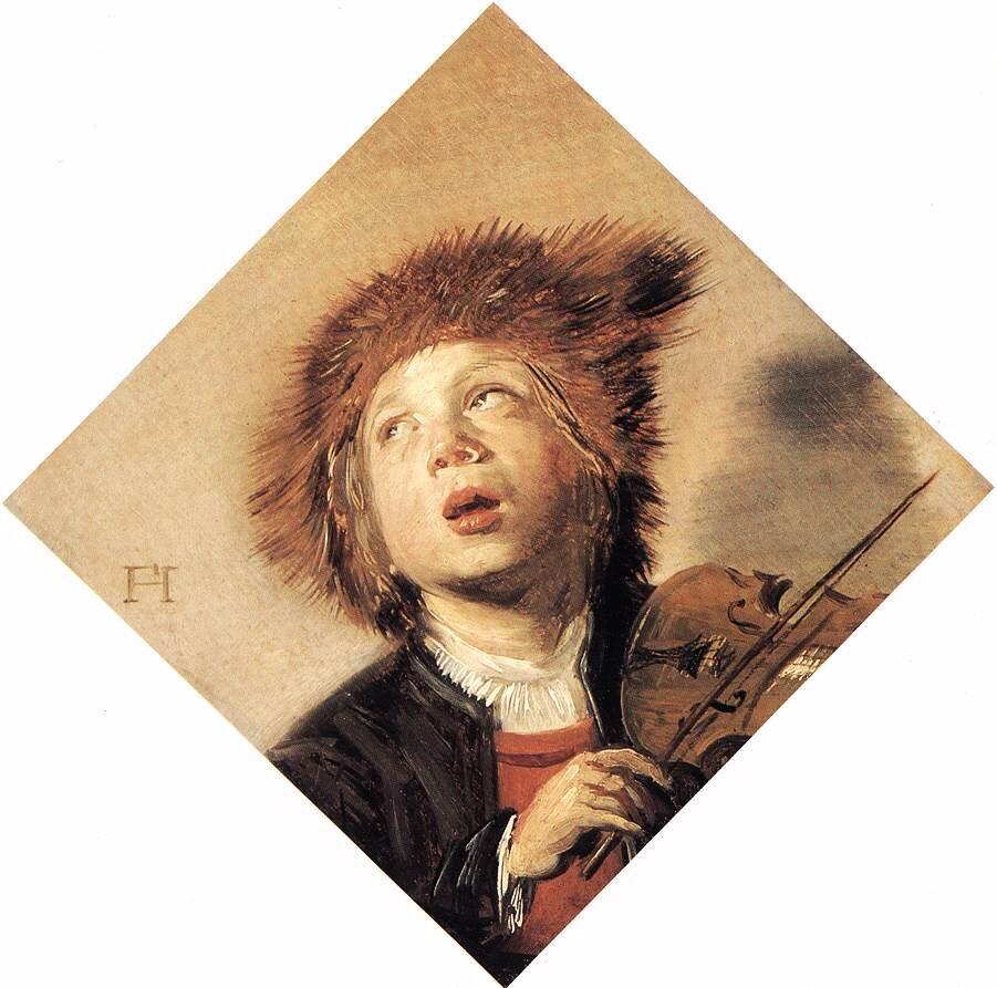 Chłopiec grający na skrzypcach Źródło: Frans Hals, Chłopiec grający na skrzypcach, ok. 1625, olej na desce, kolekcja prywatna, domena publiczna.