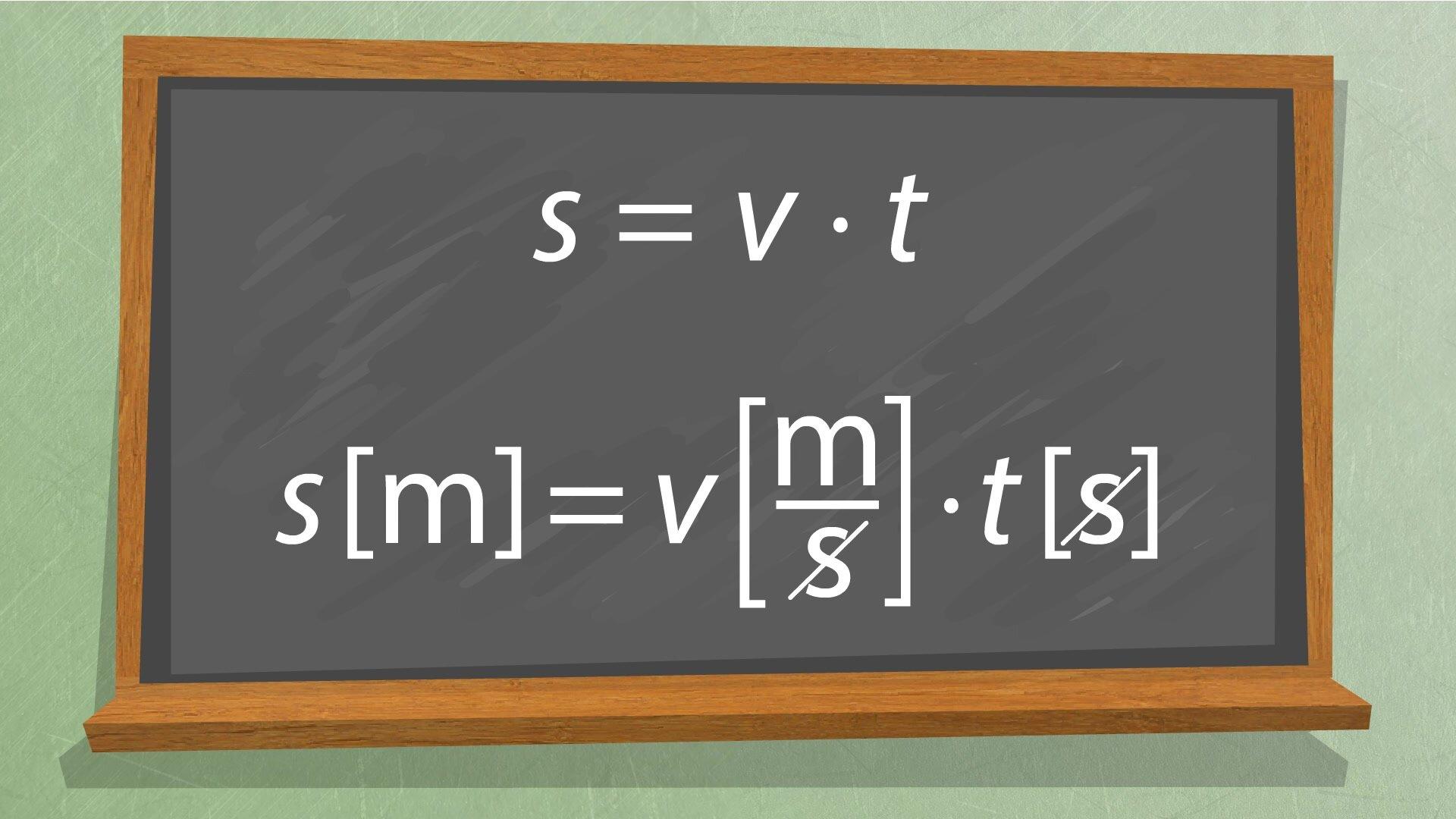 Ilustracja przedstawia wzory fizyczne zapisane na tablicy szkolnej.