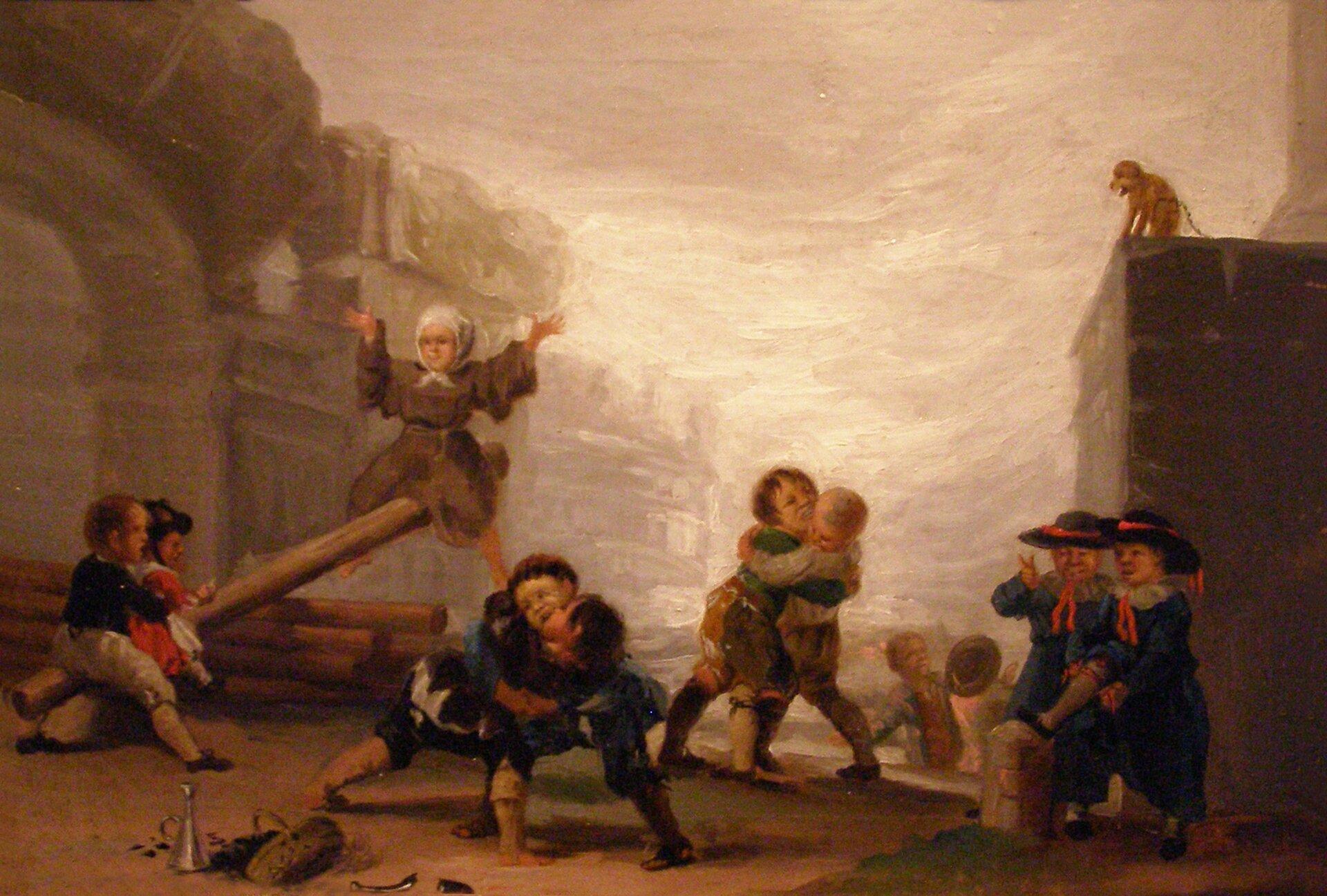 Zabawy dziecięce Dzieci bijące się ibawiące się na huśtawce Źródło: Francisco Goya, Zabawy dziecięce, 1782–1785, domena publiczna.