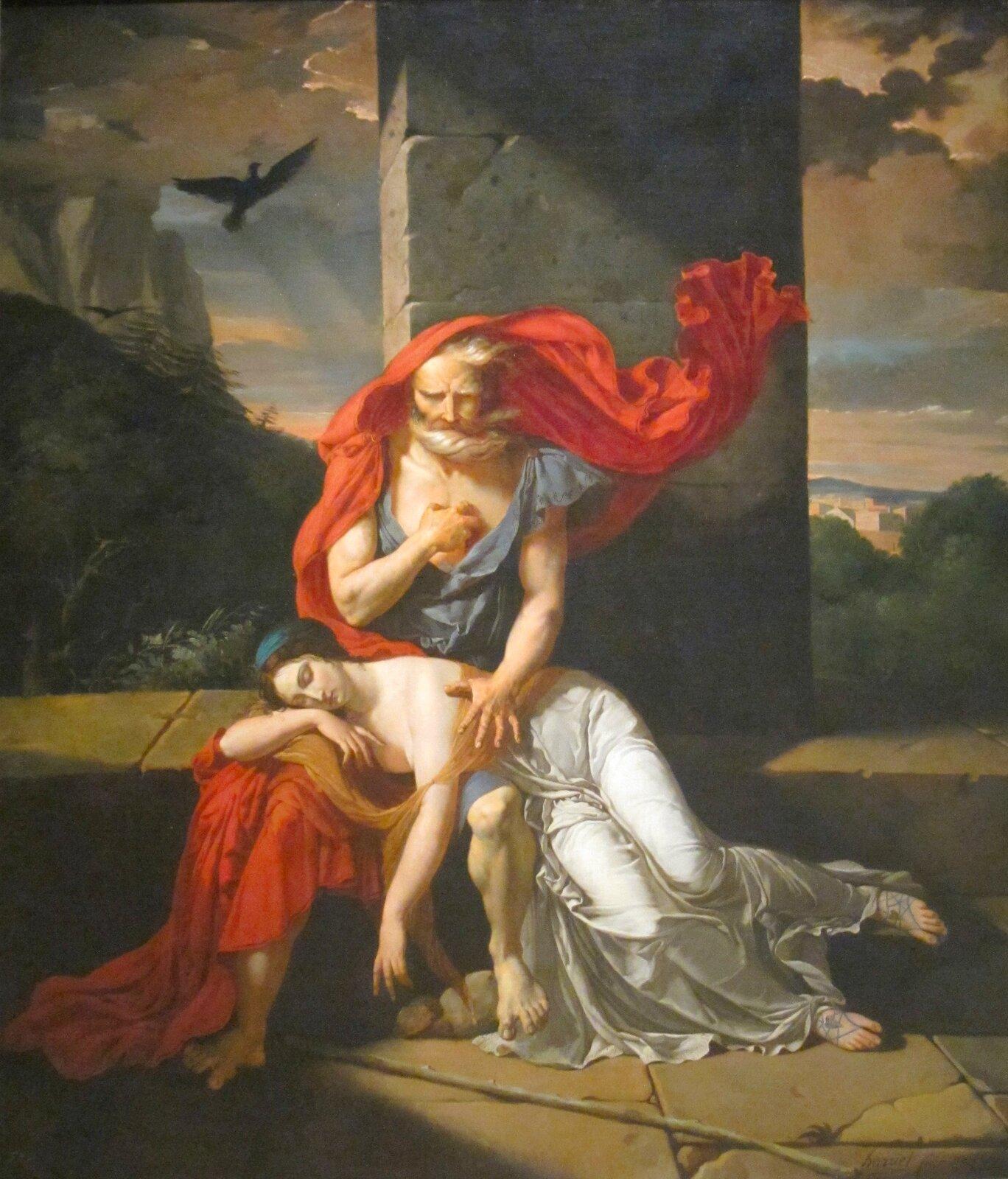 """Ilustracja przedstawia pracę Fulchran - Jean Harriens pod tytułem """"Edyp wKolonos"""". Obraz przedstawia Edypa siedzącego na murku. Edyp jest wpodeszłym wieku. ma siwe włosy oraz brodę. Na jego kolanach spoczywa młoda śpiąca ciemnowłosa kobieta, która jest ubrana wpomarańczowo-białe szaty. Wtle widoczne jest ptactwo oraz ciemne chmury."""