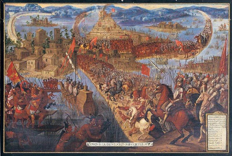 obraz przedstawia zdobycie Tenochtitlan