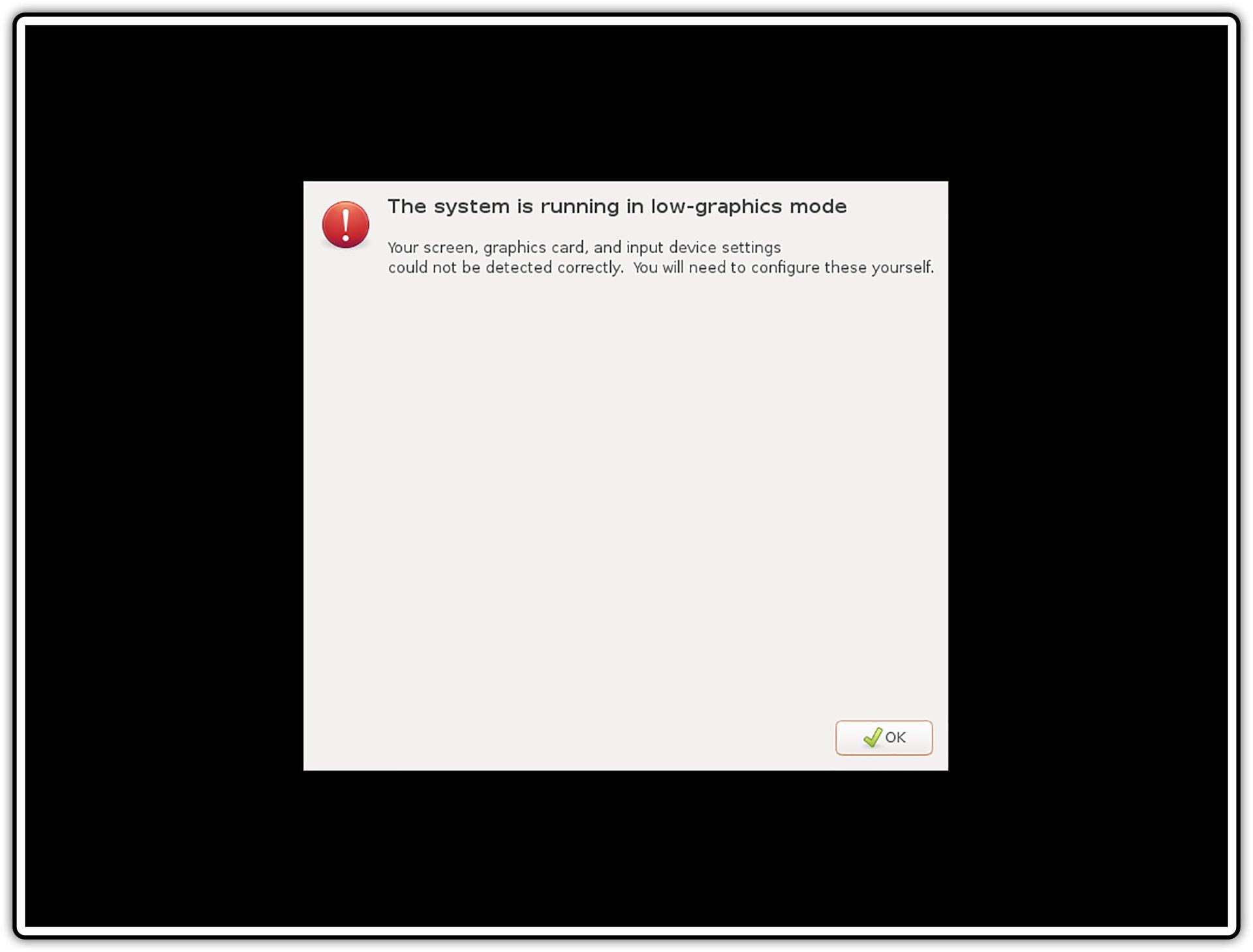 Ilustracja przedstawiająca: Okno 1 procesu uruchamiania wbezpiecznym trybie graficznym wsystemie Linux Ubuntu