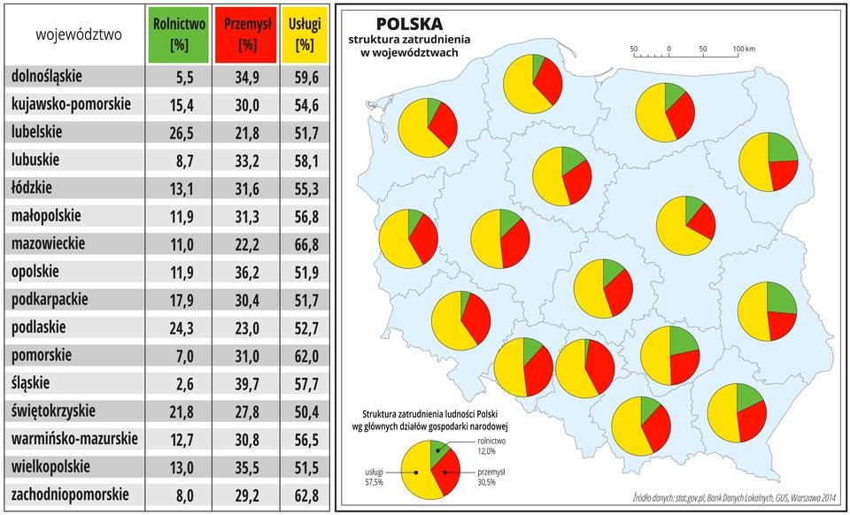 Ilustracja przedstawia mapę Polski zpodziałem na województwa. Wobrębie każdego województwa na wykresie kołowym przedstawiono strukturę zatrudnienia ludności Polski według głównych działów gospodarki narodowej. Średnio dla Polski: usługi – 57,8 procent, przemysł – 30,5 procent, rolnictwo – 12 procent. Dane te podobnie układają się wposzczególnych województwach – usługi wszędzie dominują: od 50 procent wwojewództwie świętokrzyskim do ponad 66 procent wwojewództwie mazowieckim. Rolnictwo od ponad 2 procent wwojewództwie śląskim do ponad 26 wwojewództwie lubelskim. Przemysł od prawie 22 procent wwojewództwie lubelskim do prawie 40 procent wwojewództwie śląskim. Dane te podano również wformie tabeli obok mapy.