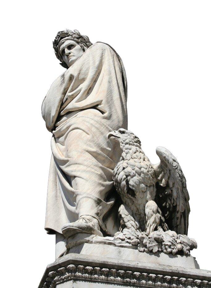PomnikDantego we Florencji. Artysta kochał miasto, które go wygnało. Przyjrzyj się postaci pisarza iwyjaśnij, dlaczego ma taki surowy wyraz twarzy. Odpowiedz izapisz wzeszycie,co oznacza wieniec laurowy na jego głowie. PomnikDantego we Florencji. Artysta kochał miasto, które go wygnało. Przyjrzyj się postaci pisarza iwyjaśnij, dlaczego ma taki surowy wyraz twarzy. Odpowiedz izapisz wzeszycie,co oznacza wieniec laurowy na jego głowie. Źródło: zdjęcie, licencja: CC BY 2.0.