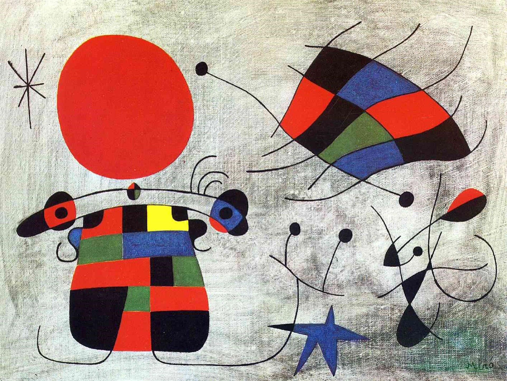 """Ilustracja przedstawia obraz Joana Miro """"Uśmiech ekstrawaganckich skrzydeł"""". Jest to abstrakcja. Malarz zastosował czarny kontur, który wypełnił płaskimi plamami barwnymi. Ukazuje surrealistyczną postać ptaka, siedzącego wjakimś krajobrazie ipółksiężyca wpostaci niebieskiego kształtu. Udołu znajduje się spadająca gwiazda."""