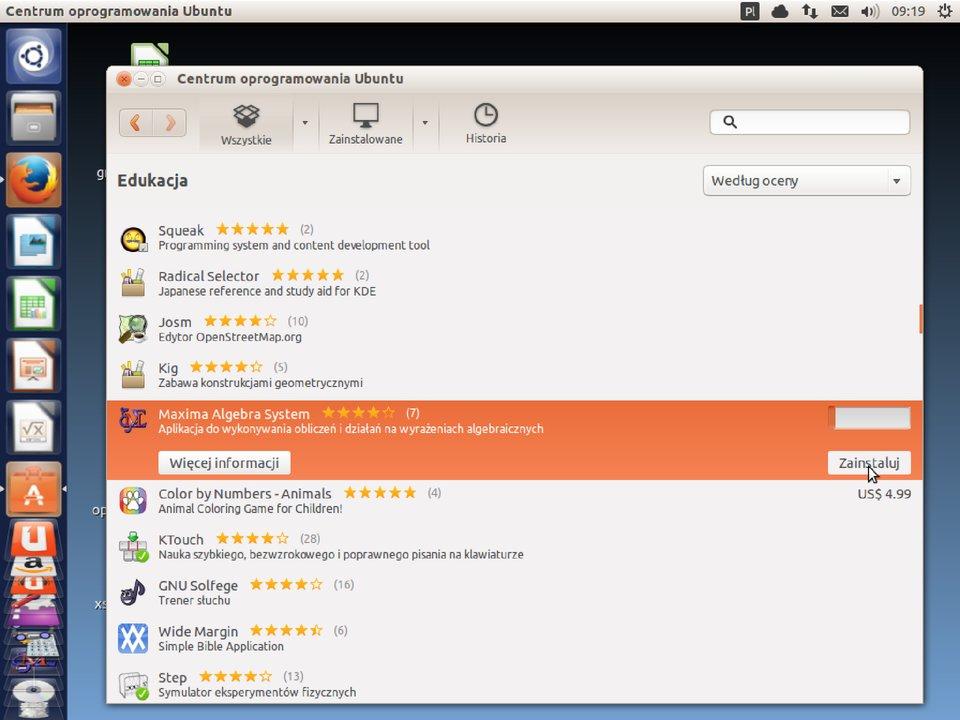 Zrzut okna 5 procesu instalacji programu wsystemie Linux Ubuntu