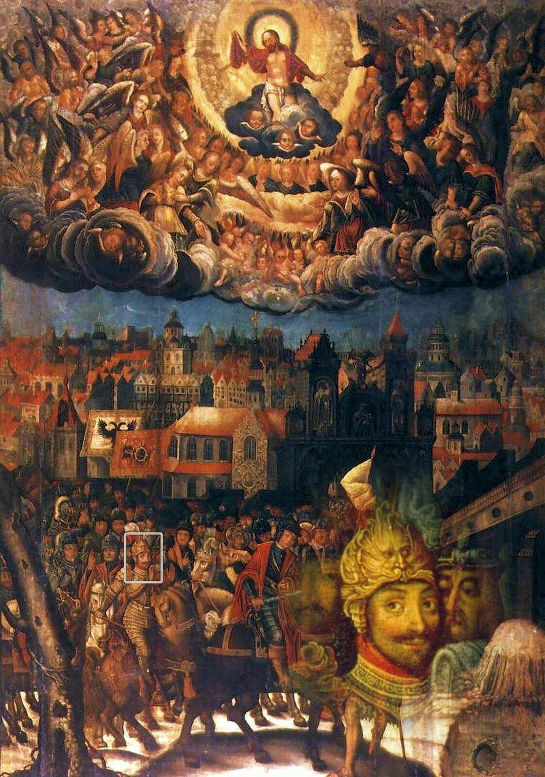 Wjazd św. Marcina do Amiens Zpodobnym przedstawieniem Zygmunta III mamy do czynienia na obrazie pędzla Krzysztofa Boguszewskiego. Król jest przedstawiony jako jeden zrycerzy orszaku św. Marcina. Portret utrzymany wtakiej zbrojnejkonwencji miał wyrażaćmoc inieustępliwość rycerską, atakże triumf moralny. Umieszczenia zaś monarchy wotoczeniu świętego miało dodatkowo zaznaczaćideę Żołnierza Chrześcijańskiego, obrońcy Boga -Defensor Dei- gotowego do walki zwrogami Kościoła. Źródło: Krzysztof Boguszewski, Wjazd św. Marcina do Amiens, 1628 r., olej na płótnie idesce, Bazylika archikatedralna Świętych Apostołów Piotra iPawła wPoznaniu, domena publiczna.