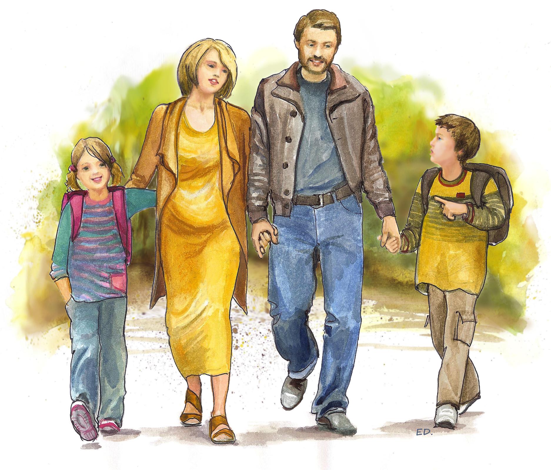 Ilustracja przedstawiająca rodzinny spacer
