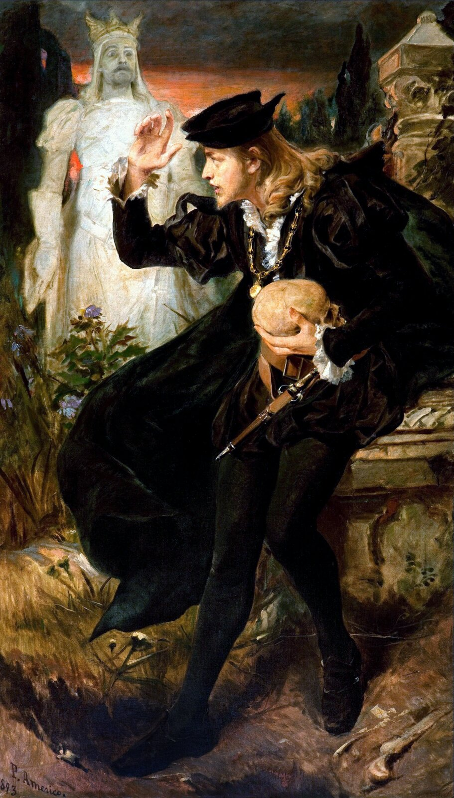 Wizja Hamleta Źródło: Pedro Américo, Wizja Hamleta, 1893, olej na płótnie, Pinacoteca do Estado de São Paulo, domena publiczna.