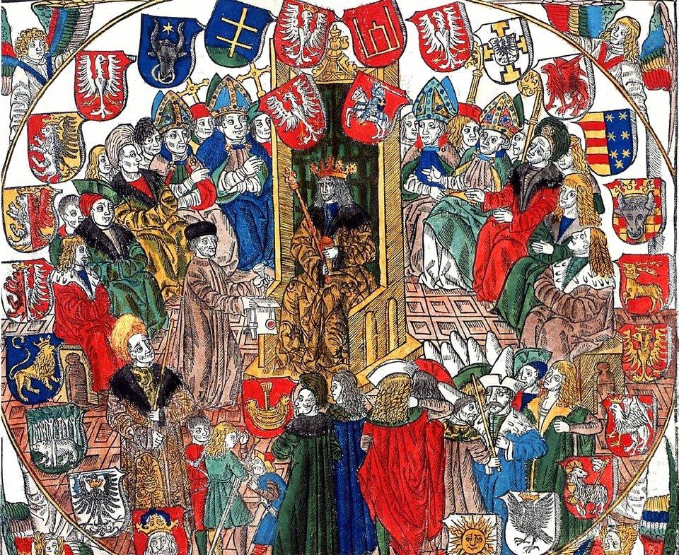 Ilustracja ze StatutuŁaskiego, spisu wszystkich statutów iprzywilejów obowiązujących wKrólestwie Polskim. Jan Haller wydrukował go 7 stycznia 1506 na pergaminie. Była to pierwsza wPolsce publikacja urzędowa wydana drukiem.