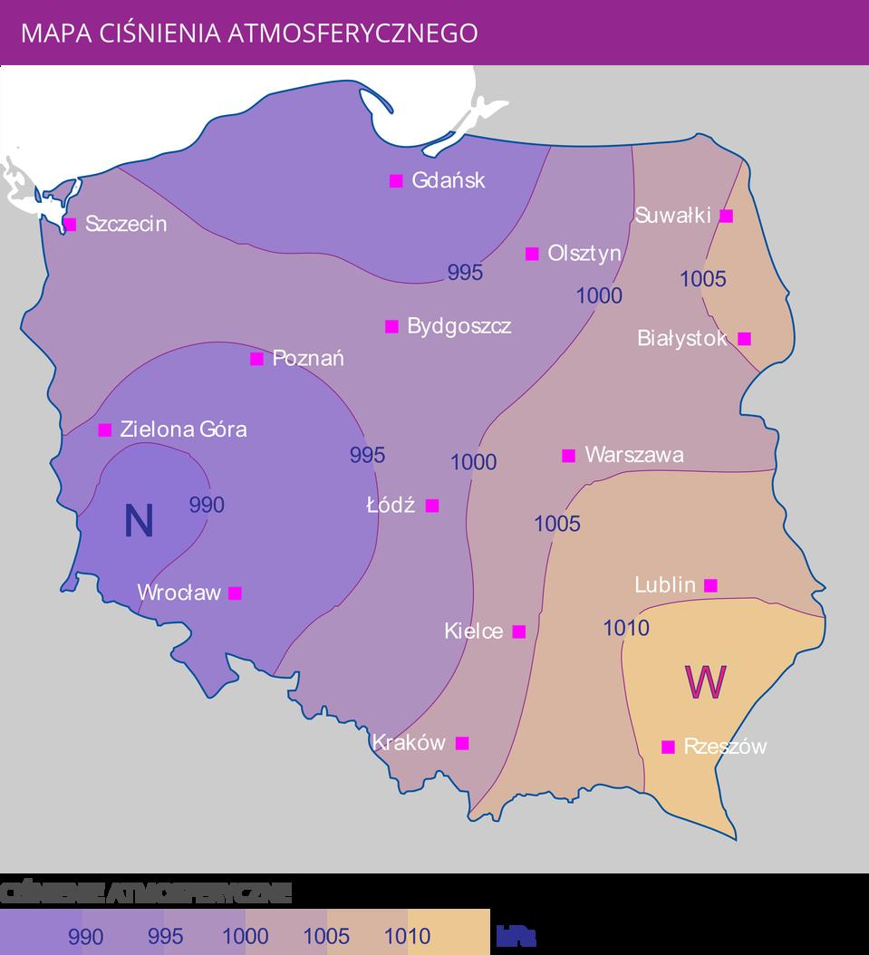 """Ilustracja przedstawia mapę Polski zrozkładem ciśnienia atmosferycznego. Na mapie zaznaczono większe miasta Polski. Izobary oznaczono wartościami od 990 hPa do 1010 hPa. Skala fioletowo-beżowa. Im niższa wartość, tym pole bardziej fioletowe. Im wyższa wartość, tym pole jaśniejsze, beżowe. Na mapie Polski dominuje kolor fioletowy. Południowo-wschodniej części kraju beżowa. Obok Rzeszowa widnieje duża litera """"W"""". Najciemniejsze rejony to północ ipołudniowy zachód. Pomiędzy Zieloną Górą aWrocławiem widnieje duża litera """"N""""."""