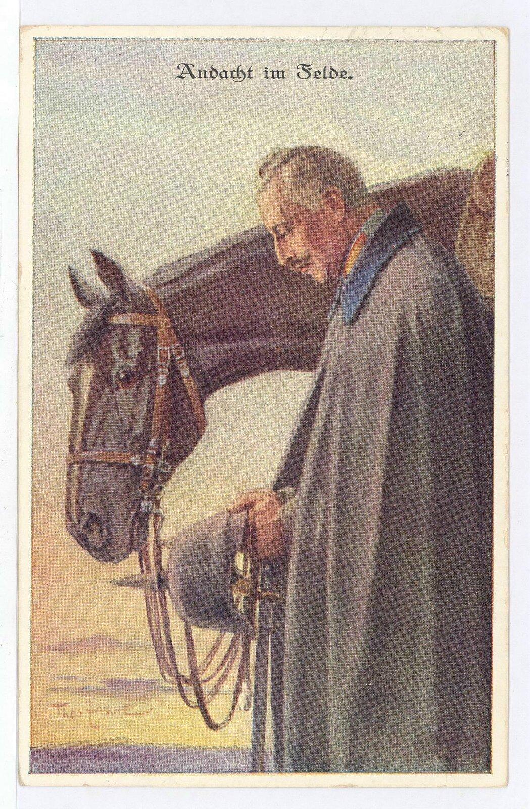 Modlitwa na polu Cesarz Wilhelm II na pocztówce propagandowej. Źródło: Theo Zasche, Modlitwa na polu, 1916, domena publiczna.