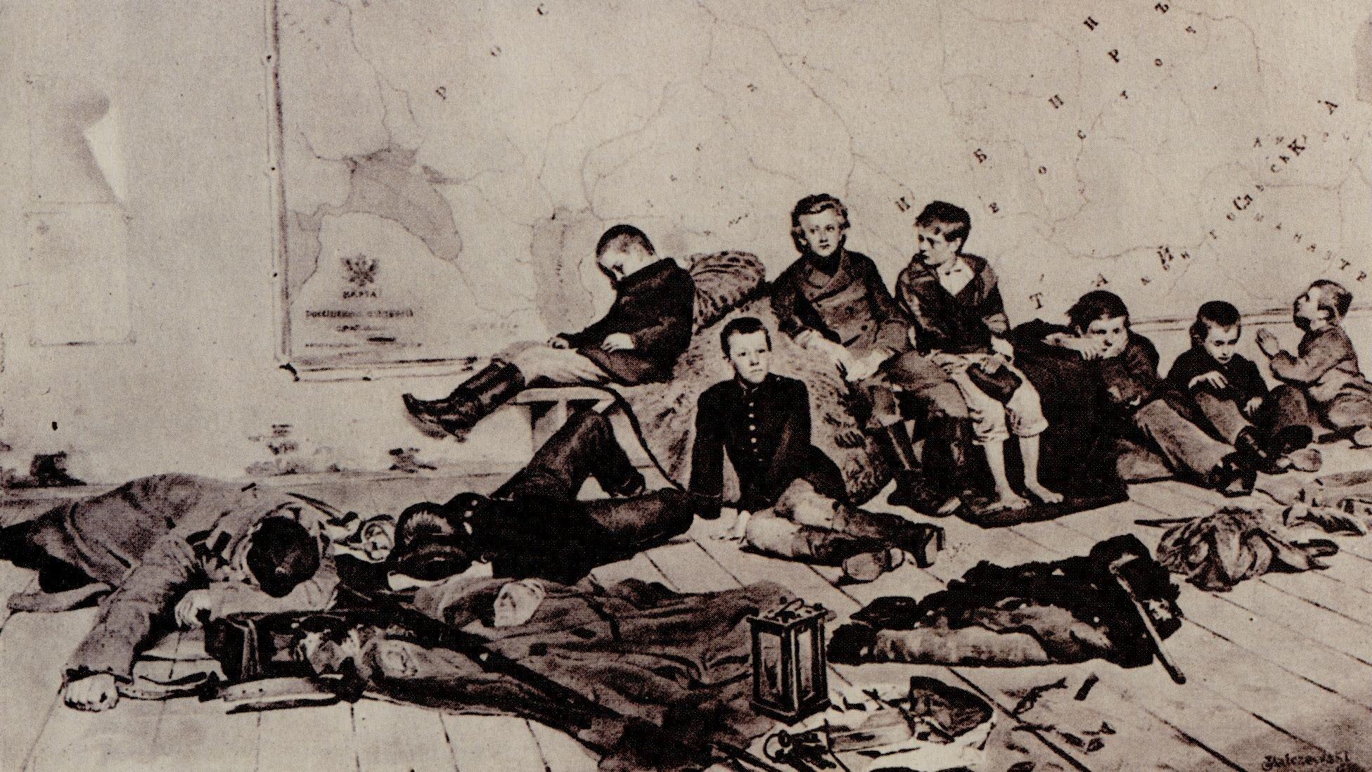 Zesłanie studentów Źródło: Jacek Malczewski, Zesłanie studentów, 1891, domena publiczna.