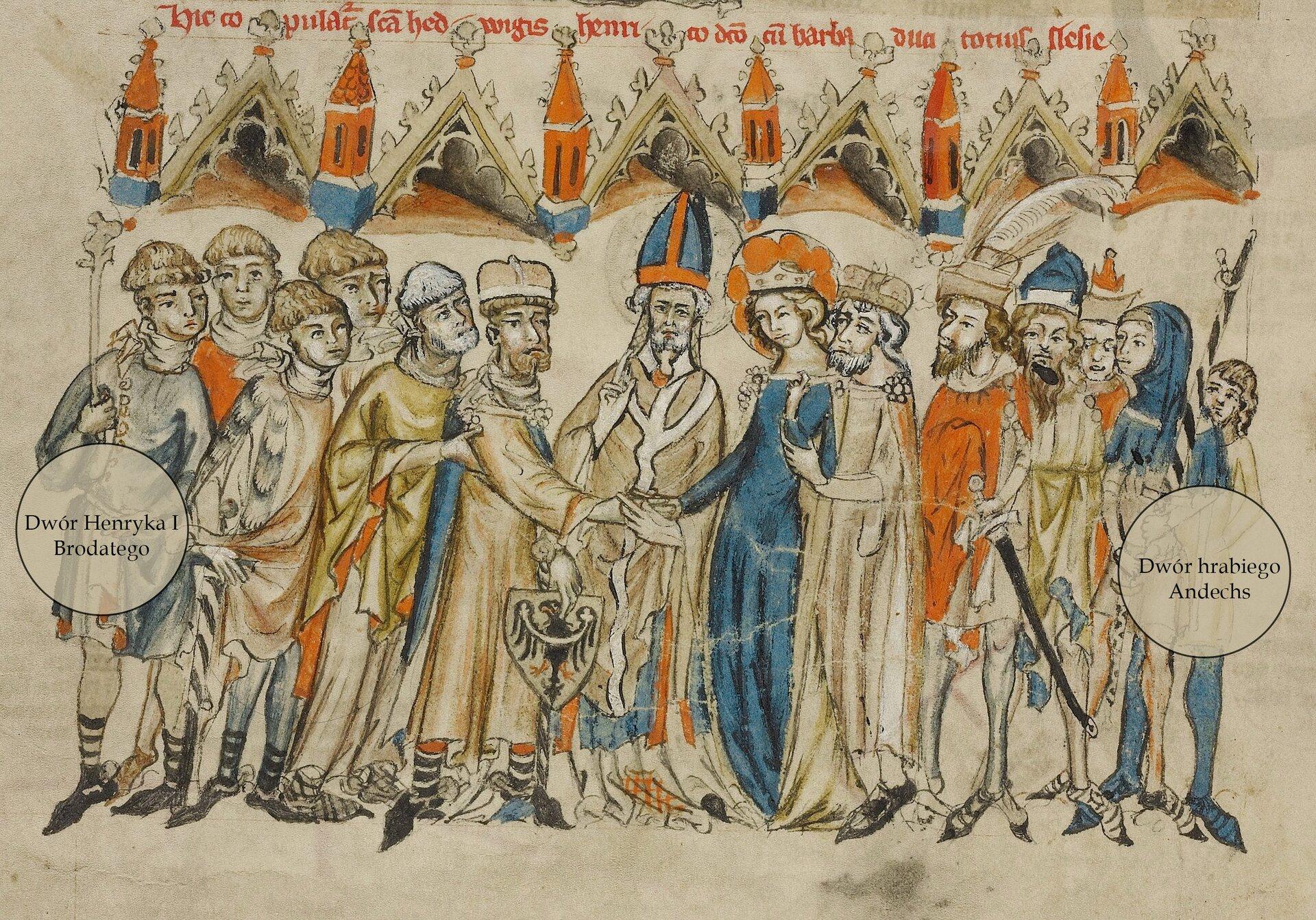 Ślub Henryka IBrodatego zJadwigą zAndechs, według ikonografii zXIV w. Źródło: Ślub Henryka IBrodatego zJadwigą zAndechs, według ikonografii zXIV w., licencja: CC 0.