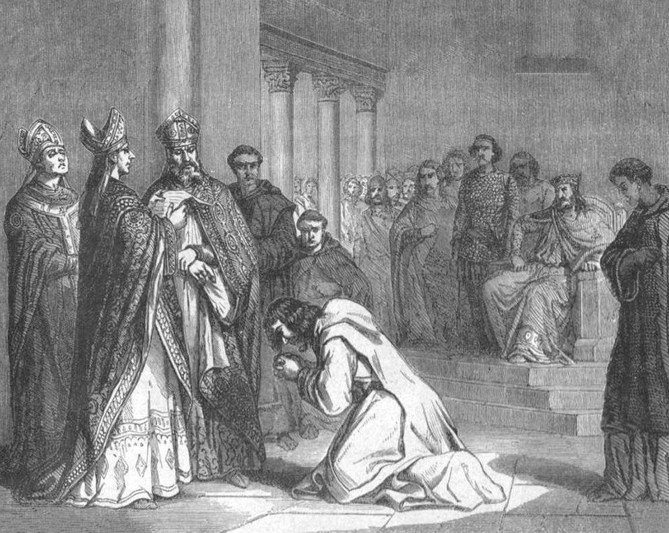 Upokorzenie Ludwika Pobożnego Źródło: Paul Lehugeur, Upokorzenie Ludwika Pobożnego, licencja: CC 0.