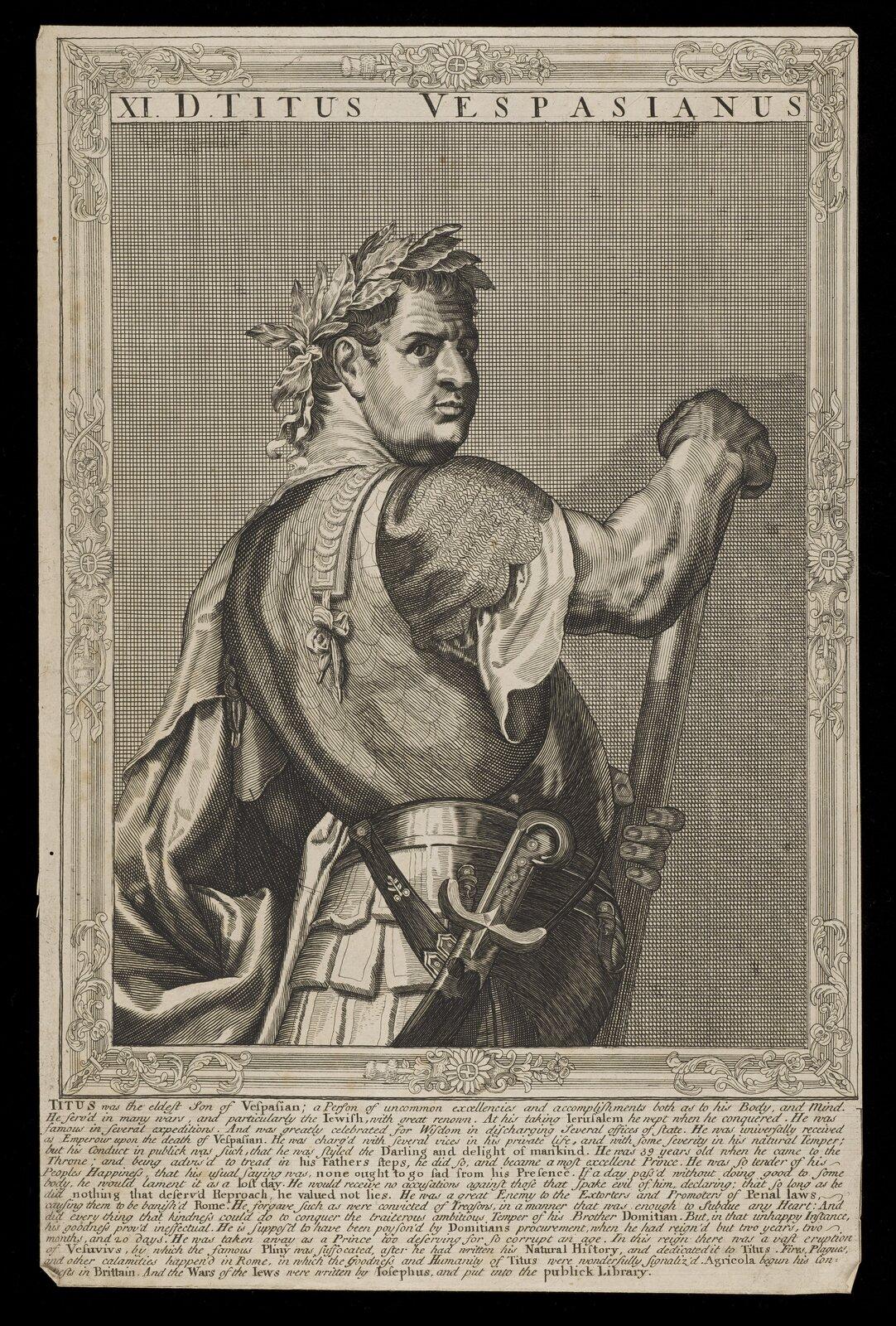 Na ilustracji przedstawiono XVI-wieczną czarnobiałą rycinę zwizerunkiem cesarza Tytusa. Postać ukazana jest zboku, ztwarzą zwróconą wstronę oglądającego. Na głowie ma wieniec zliści laurowych. Władca ubrany jest wszatę zkrótkim rękawem, na którą ma założoną zbroję. Do pasa ma przypięty krótki miecz, drugi wyciąga zpochwy. Nad postacią widnieje napis: XI D. TITUS VESPASIANUS.