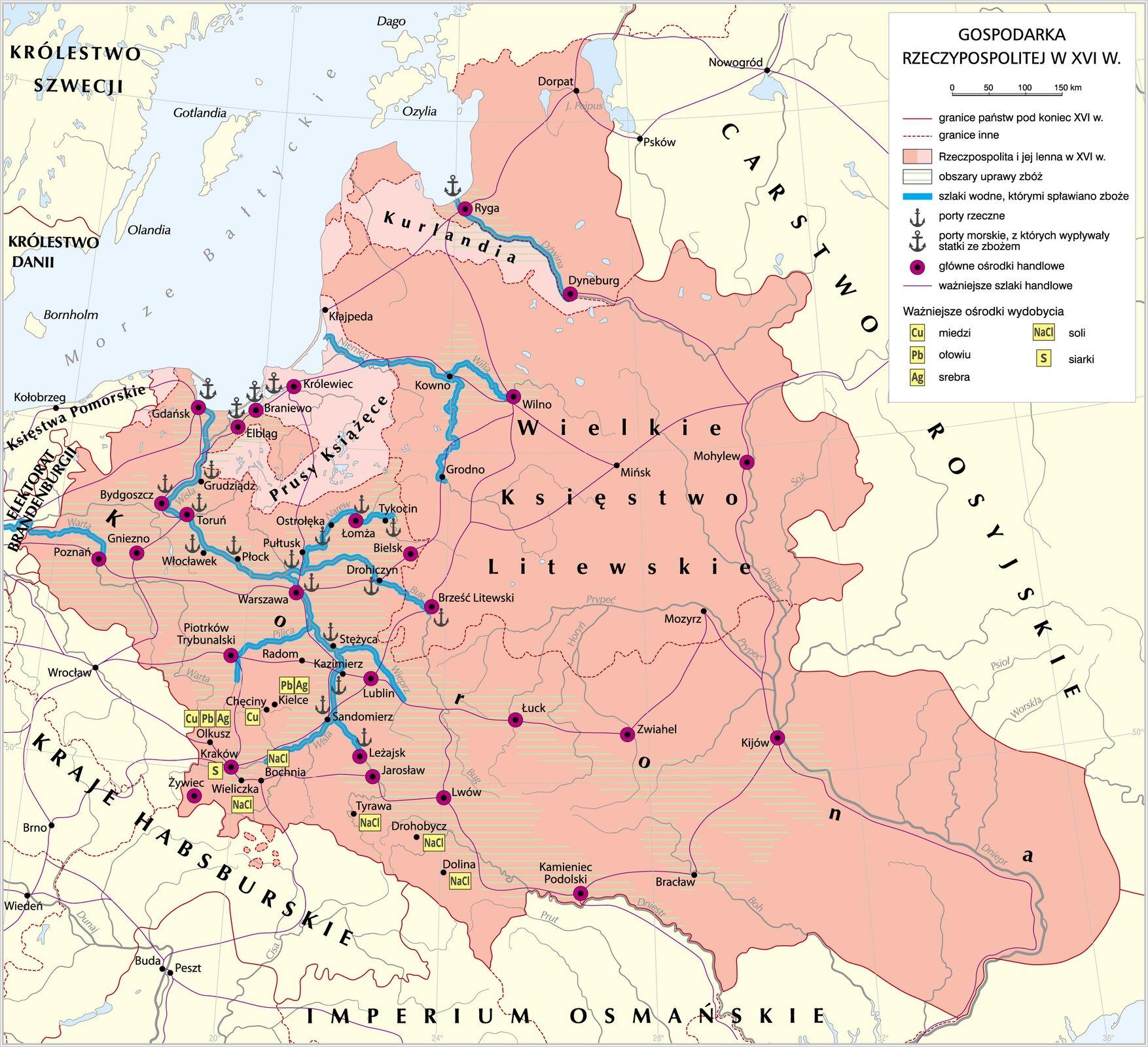 Mapa przedstawia gospodarkę Rzeczpospolitej wXVI wieku. Obszary upraw zbóż to przede wszystkim: Pomorze środkowe, Wielkopolska, Mazowsze, Małopolska, Ukraina (aż po Kamieniec Podolski iKijów), Podlasie iokolice Wilna. Ukazane są także szlaki wodne prowadzące przez niemal całą długość Wisły ijej dopływy (Wieprz, Pilica, Bug, Narew), atakże szlak wodny na Warcie od Poznania do Odry, na Niemnie, od środkowego jej biegu do ujścia wraz zdopływem Wilią, atakże na Dźwinie od Dyneburga do Rygi. Ukazane są miejsca portów rzecznych: wGrudziądzu, Bydgoszczy, Toruniu,Włocławku, Płocku Warszawie, Stężycy, Kazimierzu, Sandomierzu, Leżajsku, Brześciu Litewskim, Drohiczynie, Pułtusku, Ostrołęce, Łomży, Tykocinie, atakże porty morskie w: Gdańsku, Elblągu, Braniewie, Królewcu iRydze. Wymieniono tu także główne ośrodki handlowe takie jak: Gdańsk, Elbląg, Braniewo, Królewiec, Ryga, Dyneburg, Wilno, Mohylew, Bydgoszcz, Toruń, Poznań, Gniezno, Warszawa, Łomża, Bielsk. Brześć Litewski, Piotrków Trybunalski, Lublin, Kraków, Żywiec, Leżajsk, Jarosław, Lwów, Łuck, Zwiahel, Kijów, Kamieniec Podolski.