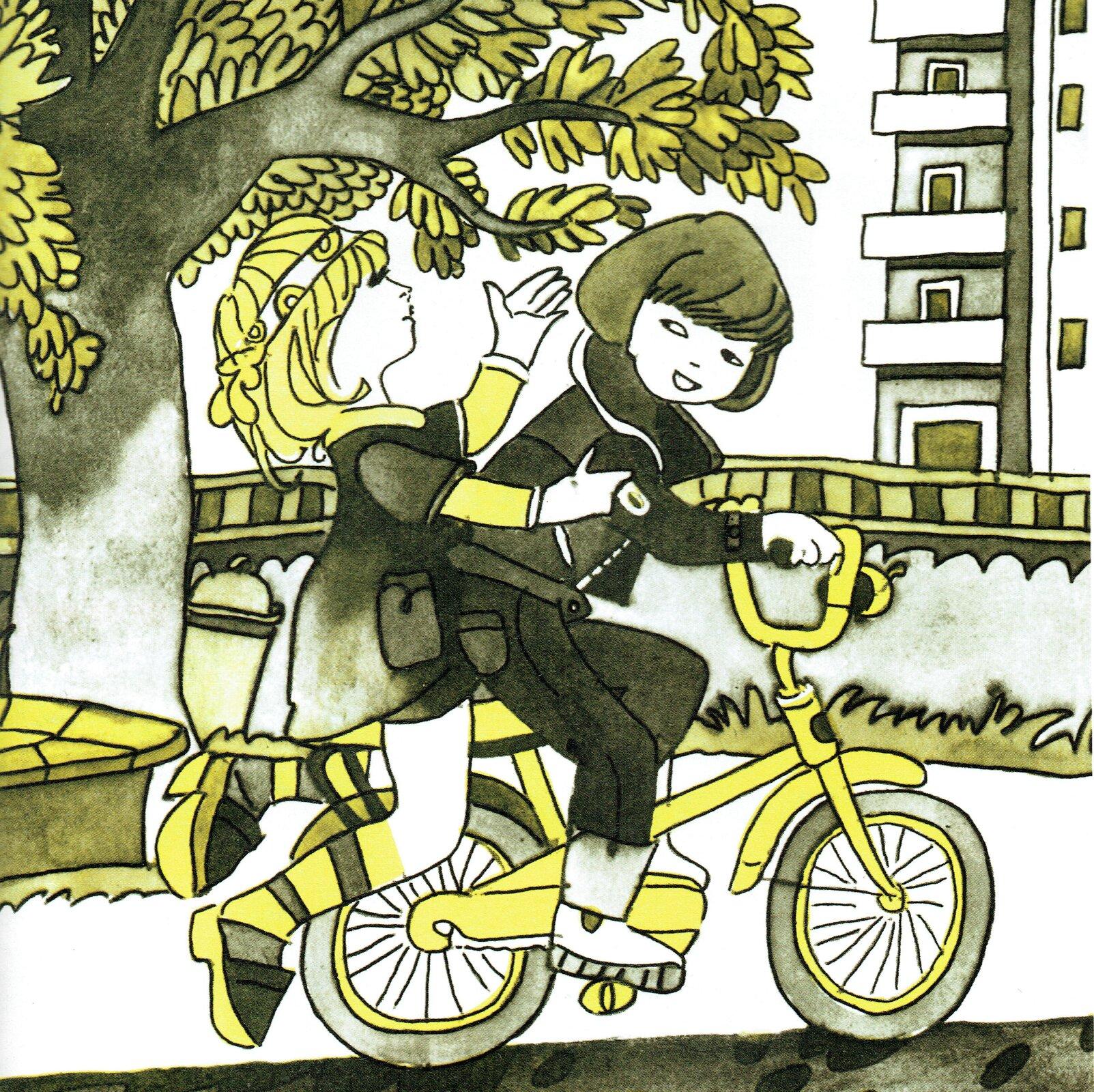 """Ilustracja przedstawia pracę Zbigniewa Rychlickiego zksiążki Danuty Wawiłow """"Chcę mieć przyjaciela"""". Ukazuje dwie dziewczynki jadące na jednym rowerze przez miasto. Wtle znajduje się drzewo oraz budynek mieszkalny. Dziewczynki rozmawiają ze sobą."""
