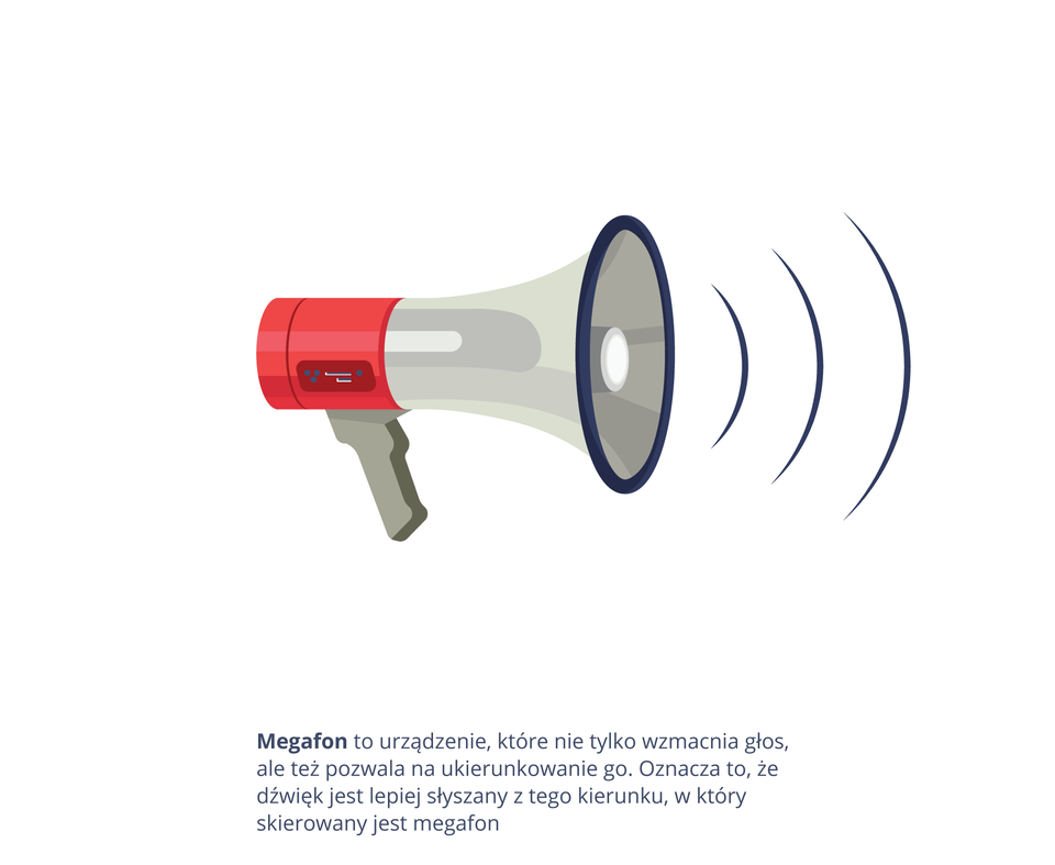 Ilustracja przedstawia megafon zwydobywającymi się zniego dźwiękami