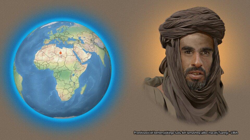 Na ilustracji kula ziemska zzaznaczonym czerwonym punktem - Libia. Obok twarz mężczyzny, krótkie włosy, pomarszczona twarz. Podpis - Tuareg.