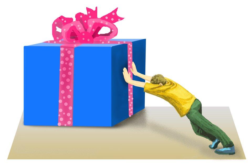 Ilustracja przedstawiająca prezent dla kolegi