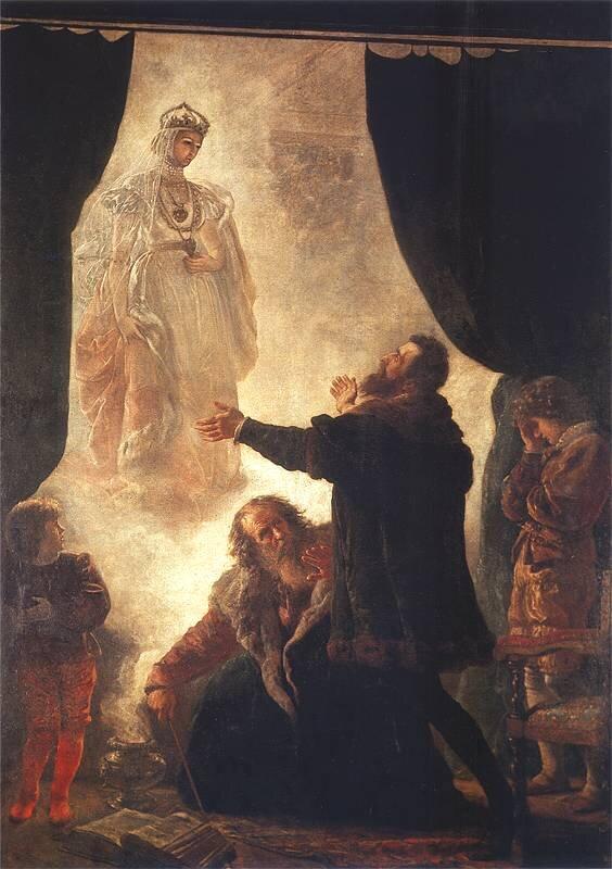 Zjawa Barbary Radziwiłłówny Źródło: Wojciech Gerson, Zjawa Barbary Radziwiłłówny, 1886, olej na płótnie, domena publiczna.