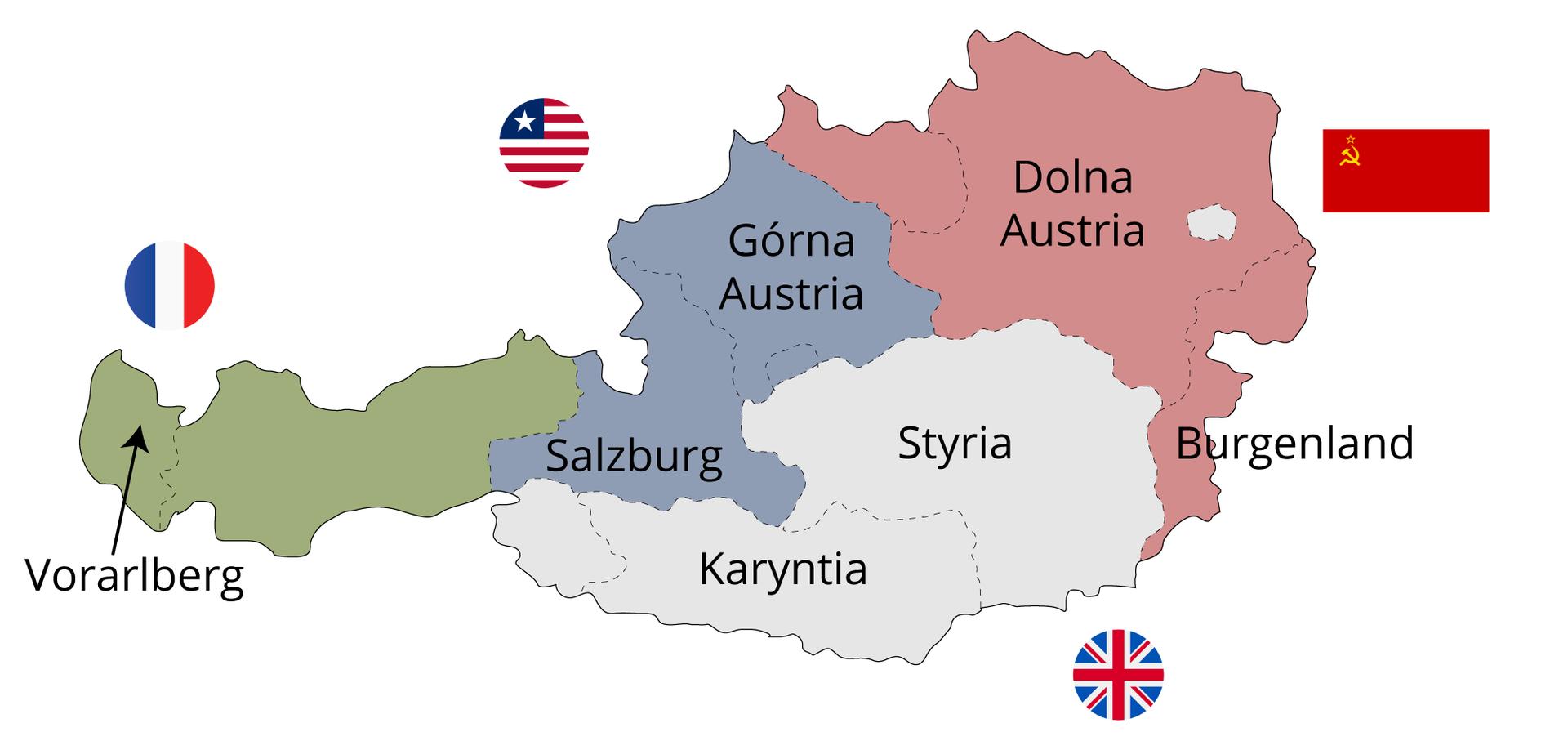 Podział Austrii na cztery strefy okupacyjne wlatach 1945–1955. W której strefie okupacyjnej znaleźli się mieszkańcy Grazu, awktórej Austriacy zInnsbrucka?