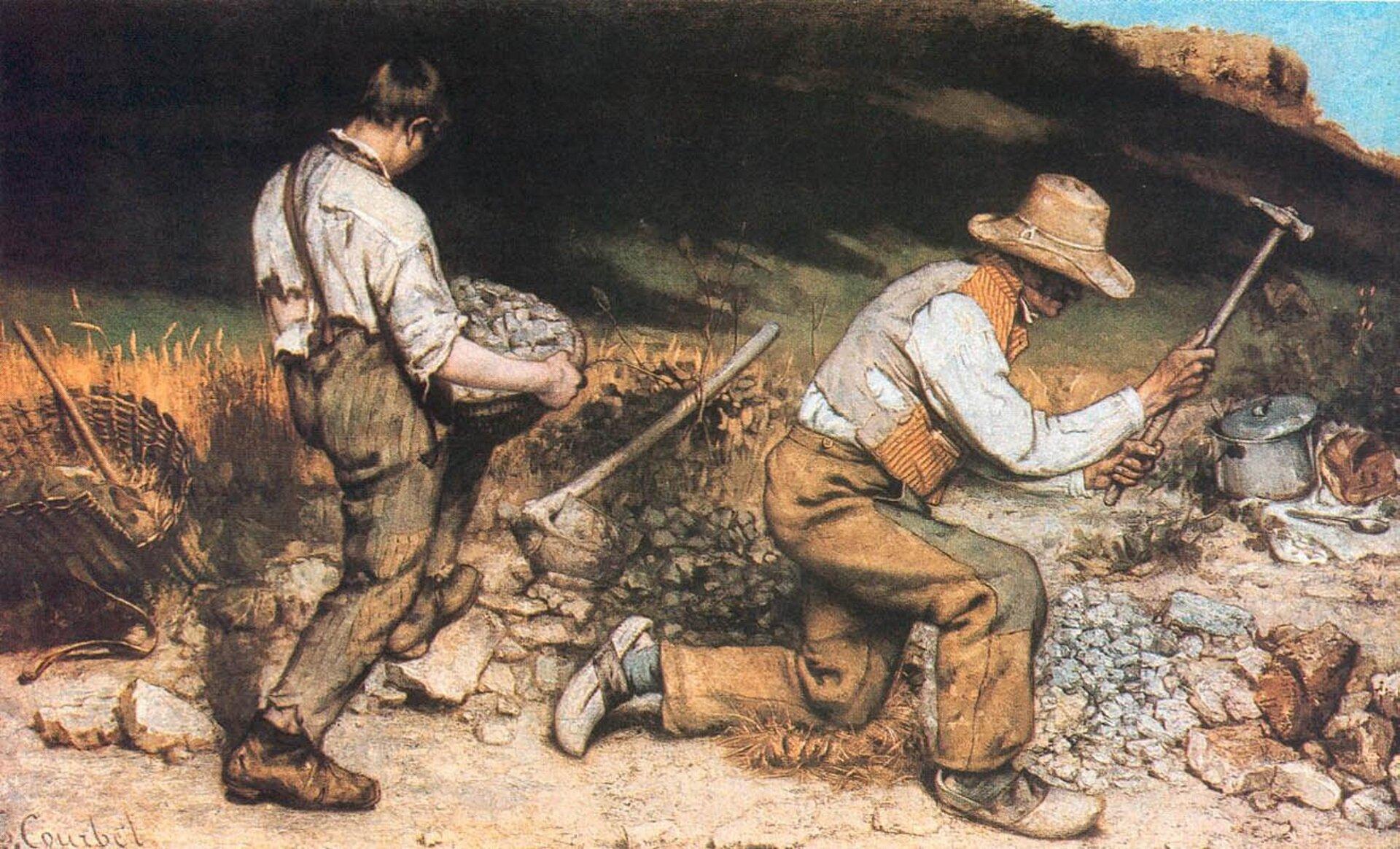 """Ilustracja przedstawia obraz Gustave Courbeta pt. """"Kamieniarze"""". Obraz powstał w1849 roku. Autor dzieła zajmował się przede wszystkim malarstwem rodzajowym, portretowym, pejzażowym oraz martwą naturą. Na obrazie zostało przedstawionych dwóch mężczyzn - kamieniarzy. Jeden znich trzyma kosz zkamieniami. Drugi zmężczyzn rozbija kamienie na mniejsze części. Wtle możemy dostrzec wzgórza."""