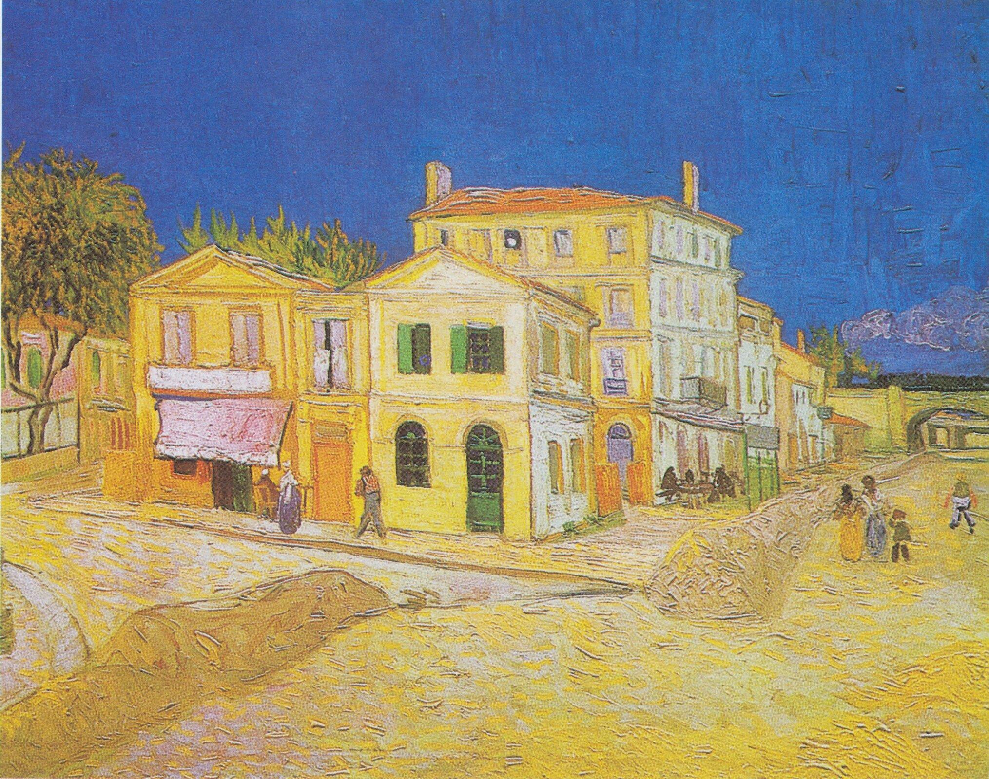 Dom Vincenta wArles (Żółty dom) Źródło: Vincent van Gogh, Dom Vincenta wArles (Żółty dom), 1888, olej na płótnie, Van Gogh Museum, Amsterdam, domena publiczna.