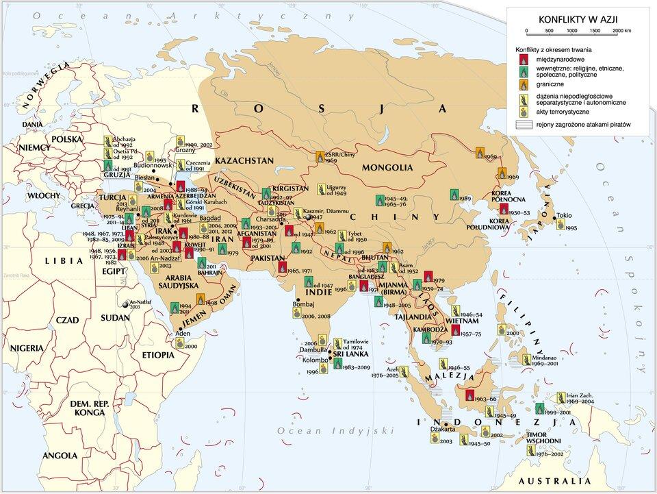 mapa -Konflikty wAzji