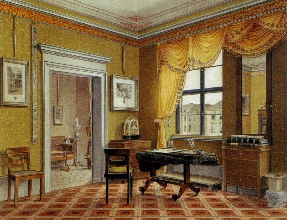 Widok pokoju Przykład stylu biedermeier Źródło: Leopold Zielcke, Widok pokoju, ok. 1825, Royal Collection of the United Kingdom, domena publiczna.