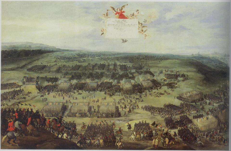 """Bitwa na Białej Górze Bitwa pod Białą Górą, nieopodal Pragi, rozegrała się w1620 roku między wojskami protestantów akoalicyjną armią katolicką. Po stronie protestanckiej, dowodzonej przez Christiana I, księcia Anhalt-Bernburg, występowali głównie Czesi, wspomagani przez oddziały niemieckie iwęgierskie. Armie katolickie miały dwóch równorzędnych dowódców. Odziałami cesarskimi (Ferdynanda II) kierował Karol hrabia de Bucquoy, awojskami Ligi Katolickiej (sprzymierzeni katoliccy władcy krajów niemieckich, wspierani przez oddziały francuskie ihiszpańskie) - Johan von Tilly. Choć liczebnie siły były dosyć wyrównane, fatalnie dowodzona (i opuszczona zaraz na początku bitwy przez huzarów siedmiogrodzkich) armia czeska bardzo szybko oddała pole irzuciła się do ucieczki. Udany pościg był sprawą praktycznie tylko pułku polskich lisowczyków pułkownika Rusinowskiego, wspomagającego wojska cesarskie. Bitwa trwała niecałe dwie godziny, lecz następne pokolenia Czechów wspominały jej dzień jako dies ater (""""czarny dzień""""), tragiczny whistorii czeskiej. Zwycięskie siły Ferdynanda II kierowały się hasłem """"naprawienia zła wyrządzonego przez husytyzm ibunt z1618 roku"""": aresztowanie istracenie wPradze kilkudziesięciu przywódców, fala terroru wkraju, dosłowna realizacja reguły cuius regio, eius religio (czyj kraj, tego religia) - konfiskaty mienia protestanckiego, tzw. mandat cesarski, na mocy którego wszyscy kalwińscy duchowni musieli natychmiast opuścić kraj, atakże przymusowa zmiana wyznania na katolicyzm. Wkonsekwencji co najmniej 100 tys. osób musiało uciekać lub wyemigrowało zCzech, ana ich miejsce sprowadzono kilkanaście tysięcy rodzin cudzoziemskich. Jedna czwarta ziemi wkraju zmieniła właściciela – zarekwirowano ją inadano lojalnym sługom cesarza ikatolikom. Trudno stwierdzić, czy te represje były bezpośrednim powodem zniemczenia szlachty oraz wyższych iśrednich warstw społecznych, wkażdym razie wXVIII wieku język czeski stał się językiem prawie wyłącznie niewykształconych chłopów"""