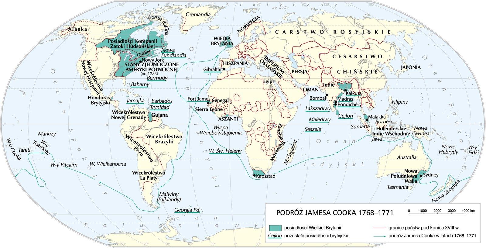 Podróż J. Cooka - 1768-1771 Podróż J. Cooka - 1768-1771 Źródło: Krystian Chariza izespół, licencja: CC BY 4.0.