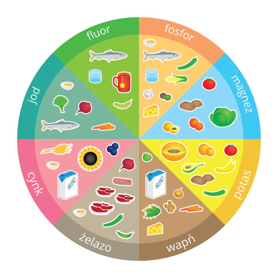 Schemat kołowy prezentujący produkty spożywcze zawierające: fluor, fosfor, magnez, potas, wapń, żelazo, cynk, jod spożywczych