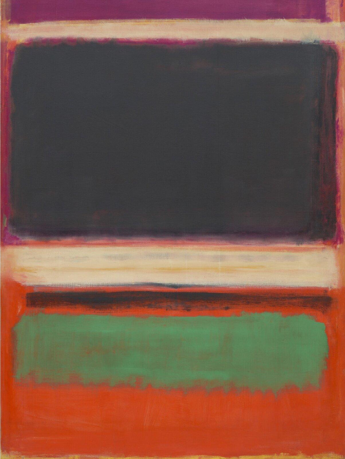"""Ilustracja przedstawia obraz """"Fuksja, Czarny, Zielony na Pomarańczowym"""" autorstwa Marka Rothko. Abstrakcyjna kompozycja składa się zkilku luźno malowanych płaszczyzn koloru na pomarańczowym tle. Górną partię obrazu zajmuje duży prostokąt ciemno-szarego koloru  namalowany na powierzchni chłodnego różu, który od góry iod dołu zamykają jasno-beżowe pasy. Poniżej, pod szeroko namalowaną, poszarpaną, czarną linią znajduje się wąski prostokąt wkolorze chłodnej zieleni mocno wybijającej się na tle oranżu. Zamknięta, statyczna kompozycja namalowana jest szerokimi, pionowymi ipoziomymi, pociągnięciami pędzla. Obraz odznacz się dużą syntezą iuproszczeniem form. Artysta ogranicza się do minimalnych środków wyrazu jakimi są proste płaszczyzny barwne."""